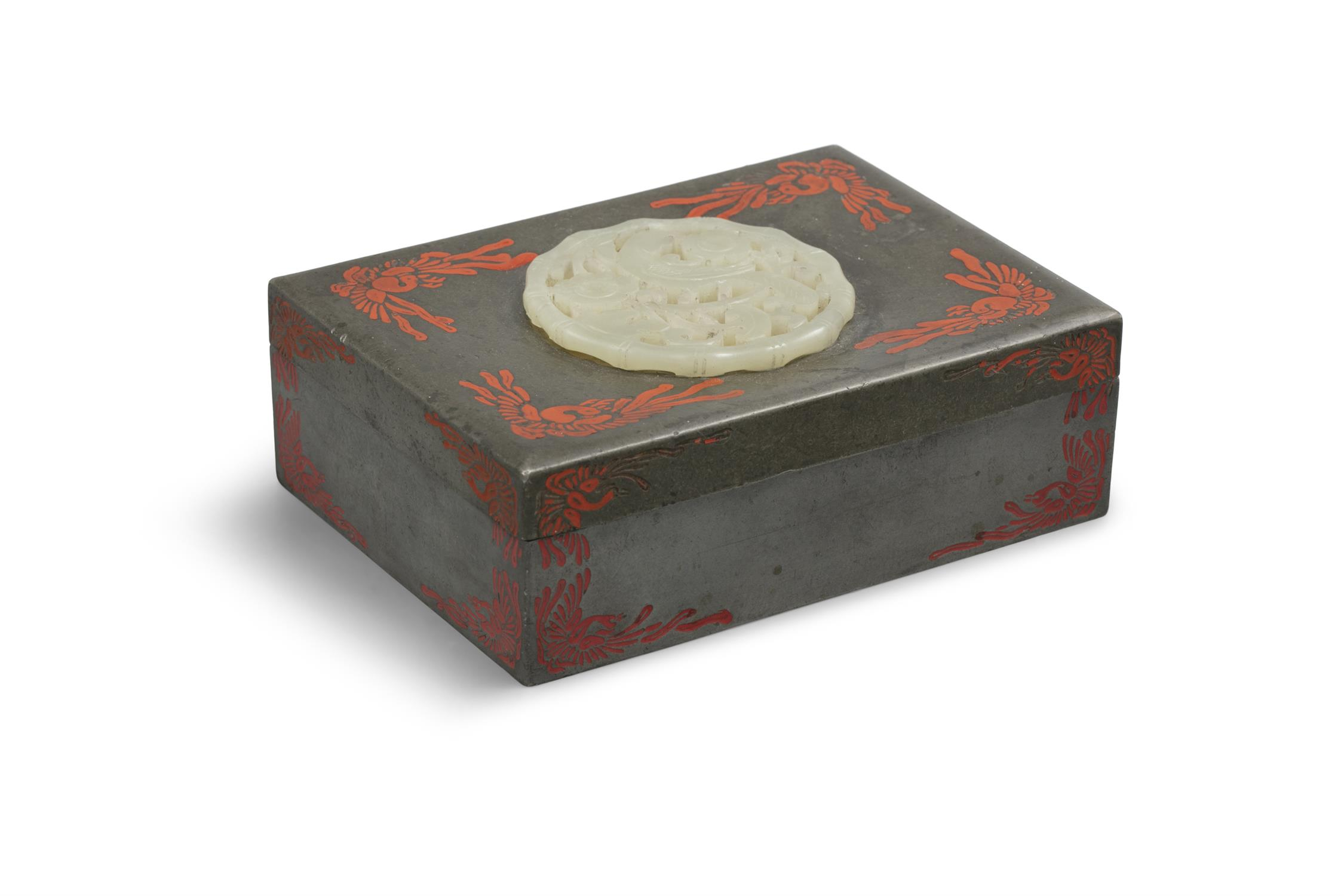 A PARCEL LACQUERED PEWTER LIDDED BOX SET WITH A JADE PIECE BY YAMANAKA & CO The box made in Japan, - Image 12 of 15
