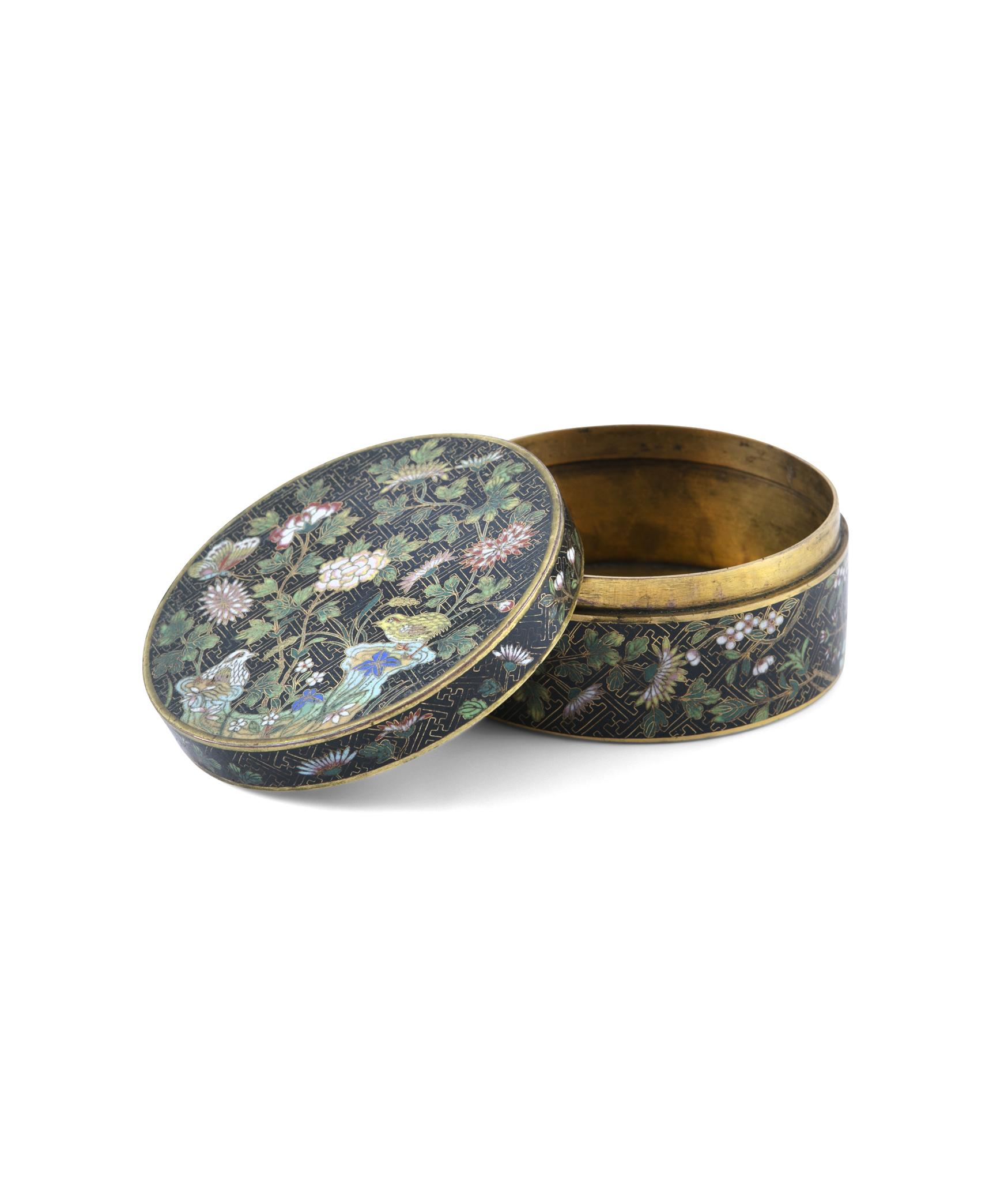 A 'FLOWER AND ROCKS' ROUND CLOISONNE BOX AND COVER China, Late Qing to Republican / Minguo period - Image 32 of 36