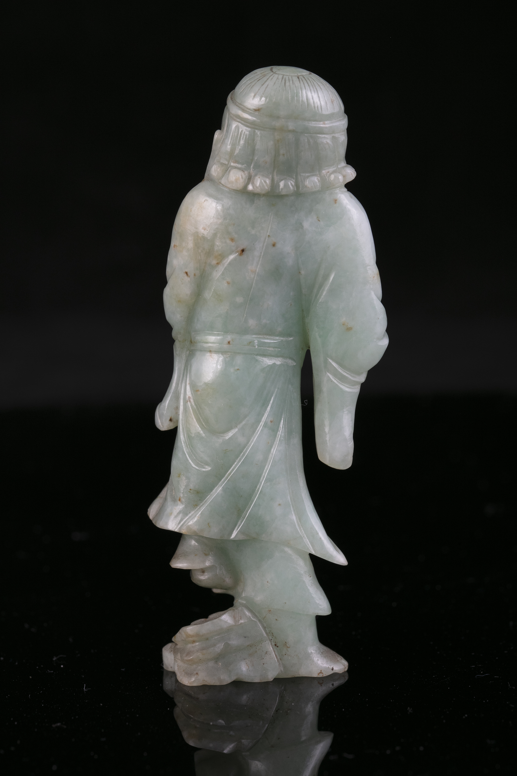 A JADEITE JADE FIGURE OF A STANDING TIEGUAI LI China, Circa 1900 The immortal is depicted with a - Image 9 of 20