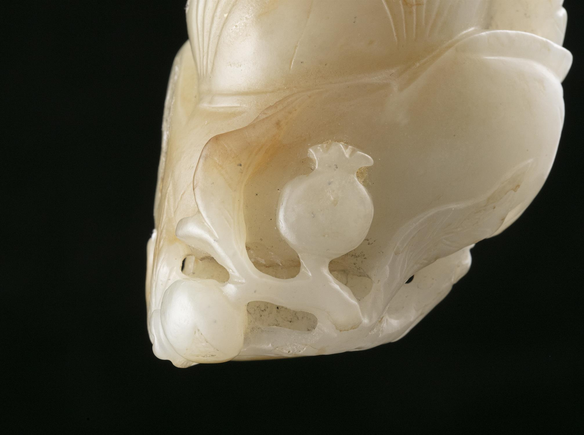 A WHITE AND RUSSETS JADE CARVING OF A HOHO / HEHE / ERXIAN / 和合二仙 China The boy is depicted grasping - Image 19 of 20