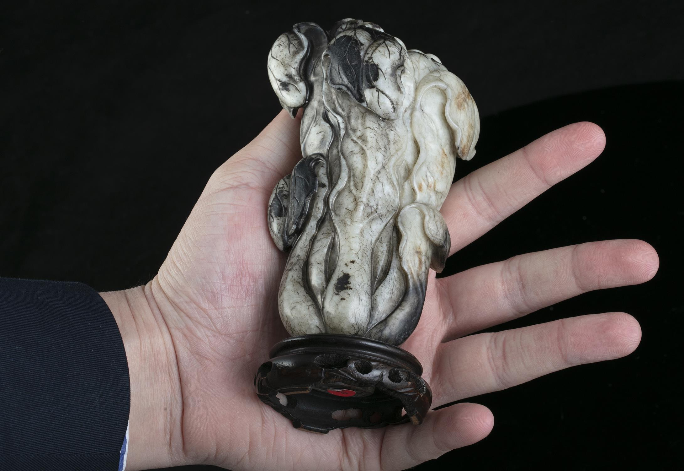 A MOTTLED JADE CARVING OF A CHINESE CABBAGE China, Likely Ming Dynasty Naturalistically carved in - Image 20 of 20