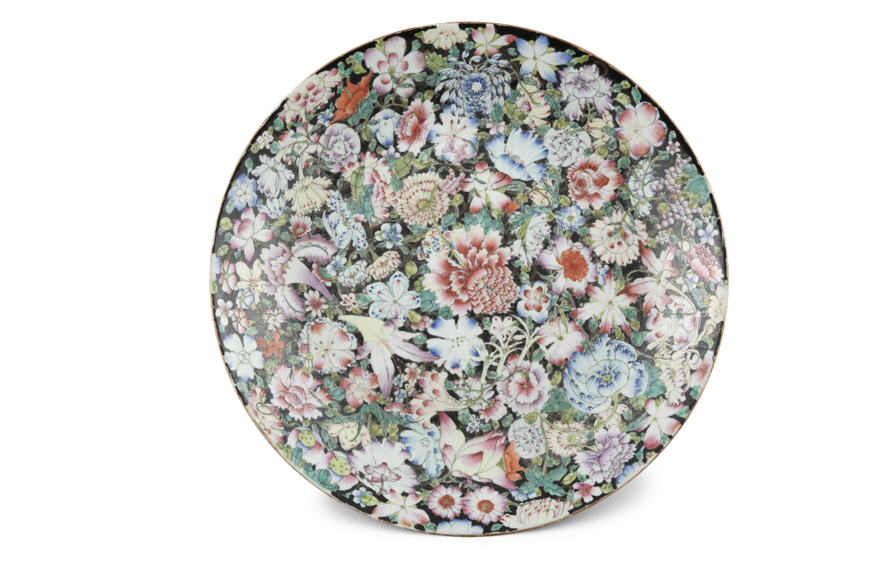 A BLACK GROUND 'MILLE FLEURS' PORCELAIN DISH China, Republican / Minguo period Richly adorned in - Image 2 of 18