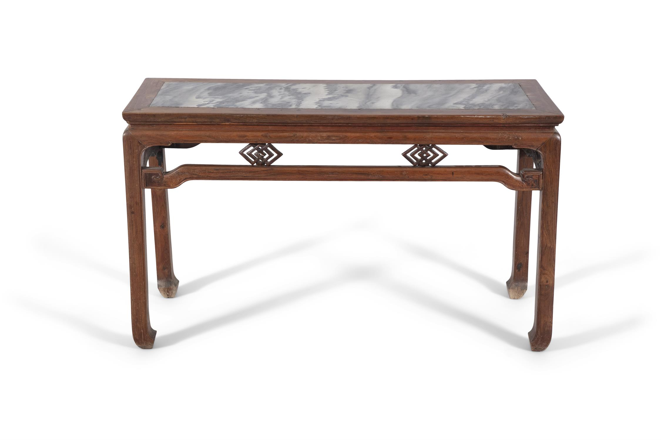 A WOODEN LOW ALTAR TABLE SET WITH A MARBLE PLAQUE China, Late Qing Dynasty, Circa 1900 The apron - Image 12 of 14