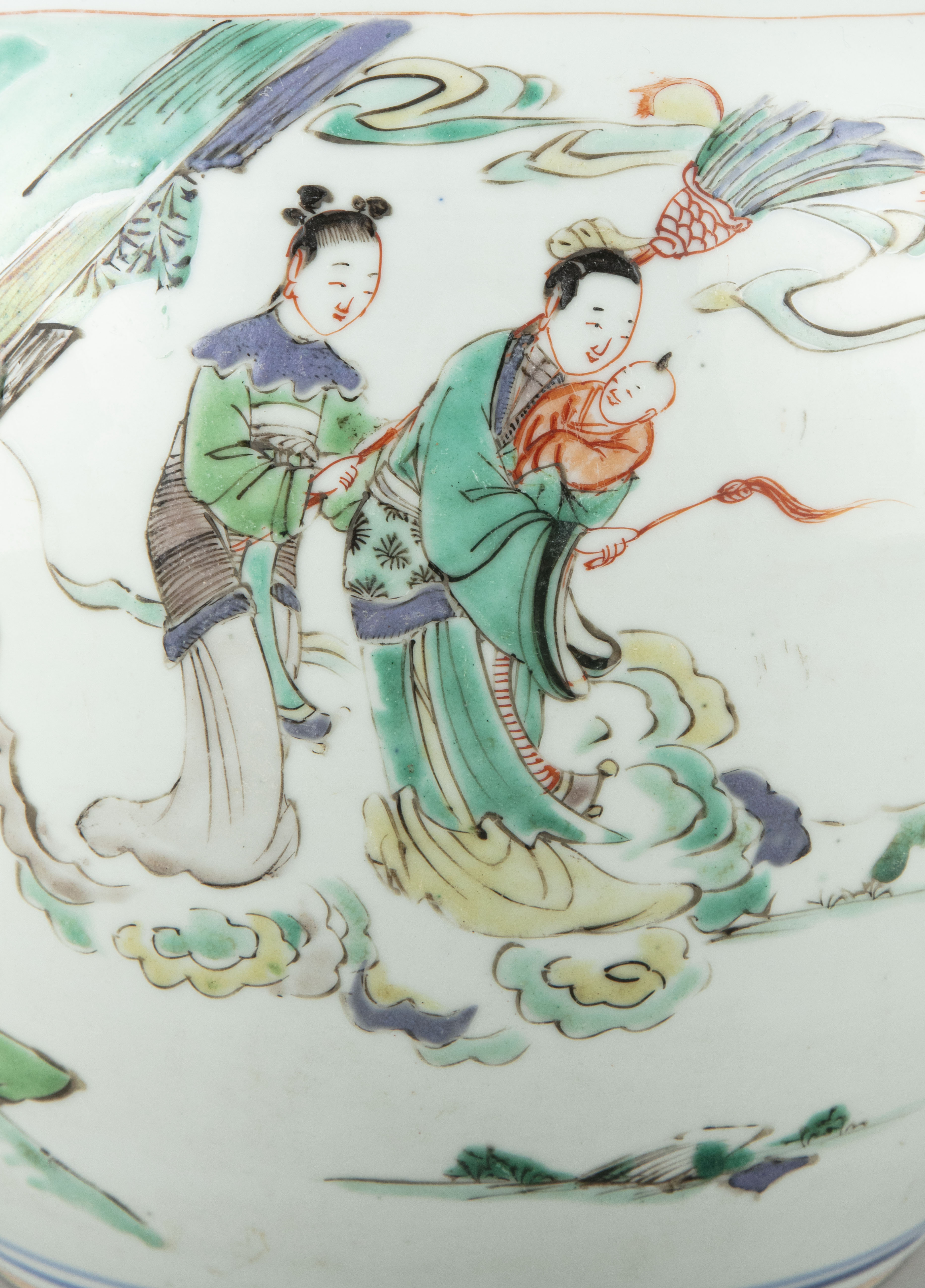 A FAMILLE VERTE 'BOY AND QILIN' PORCELAIN GINGER JAR China, Qing Dynasty, Kangxi period Adorned in - Image 9 of 20
