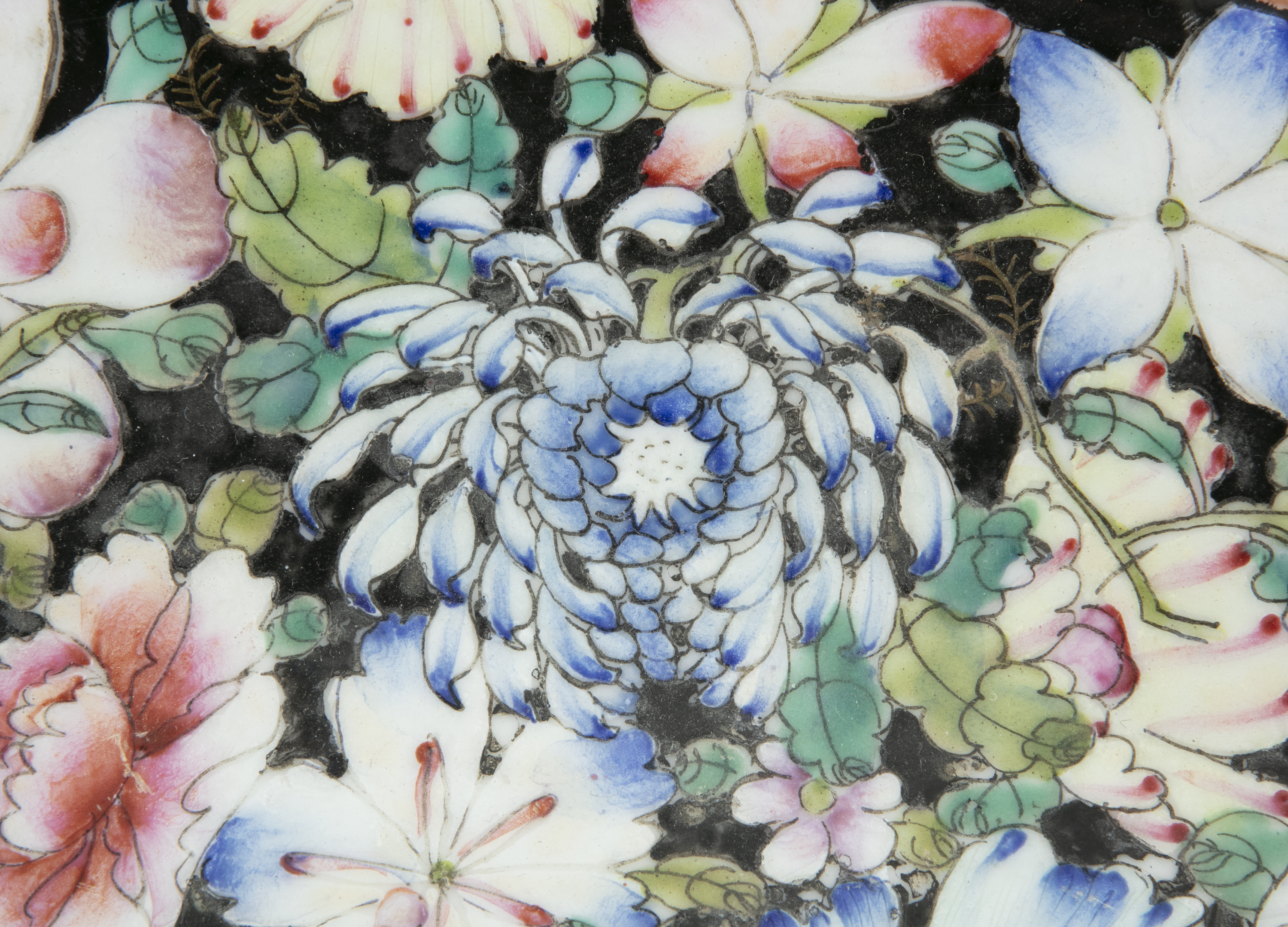 A BLACK GROUND 'MILLE FLEURS' PORCELAIN DISH China, Republican / Minguo period Richly adorned in - Image 10 of 18