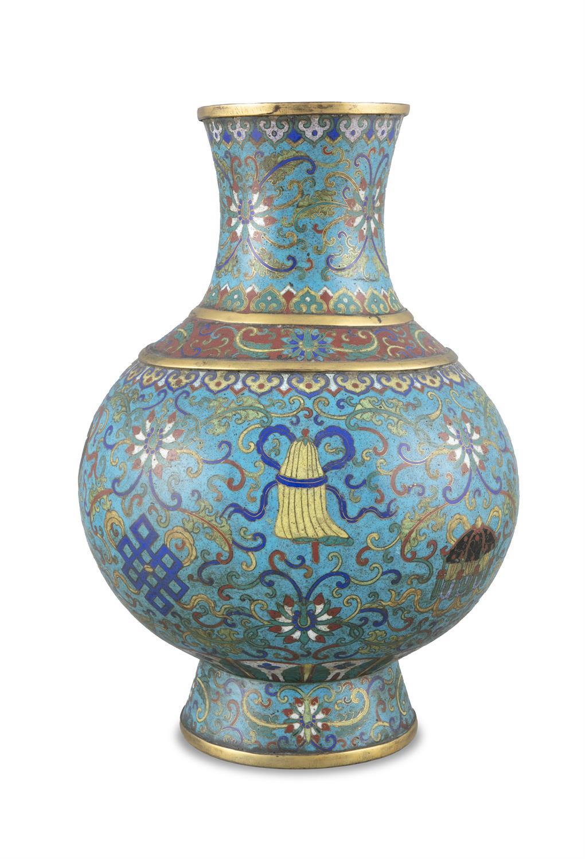 A LARGE 'ASHTAMANGALA' CLOISONNE BRONZE JAR, HU China, Qing Dynasty, 19th century Richly adorned - Image 6 of 24