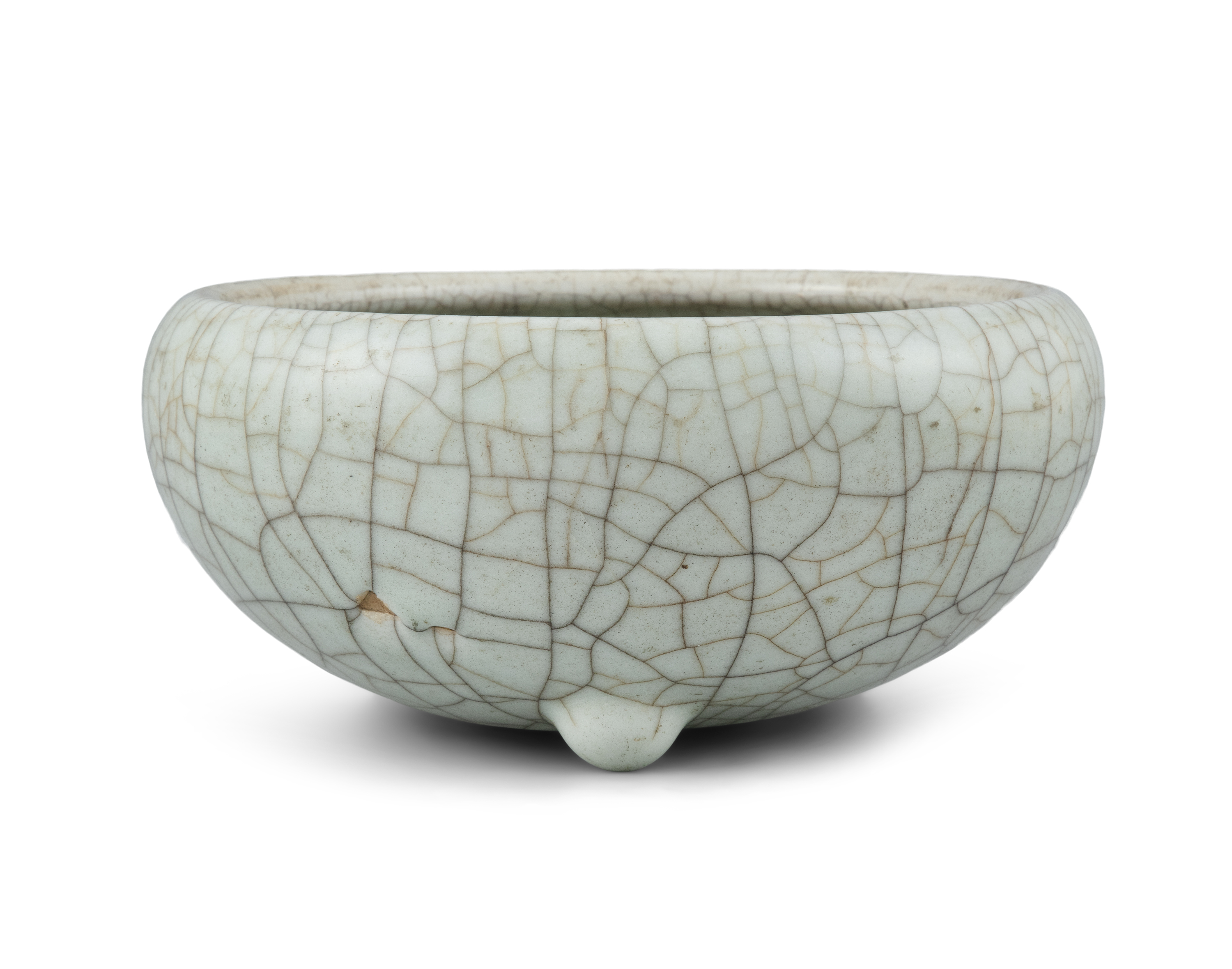 A GEYAO TYPE CRACKLED-CELADON GLAZED GLOBULAR INCENSE-BURNER China, Late Qing to Republican period