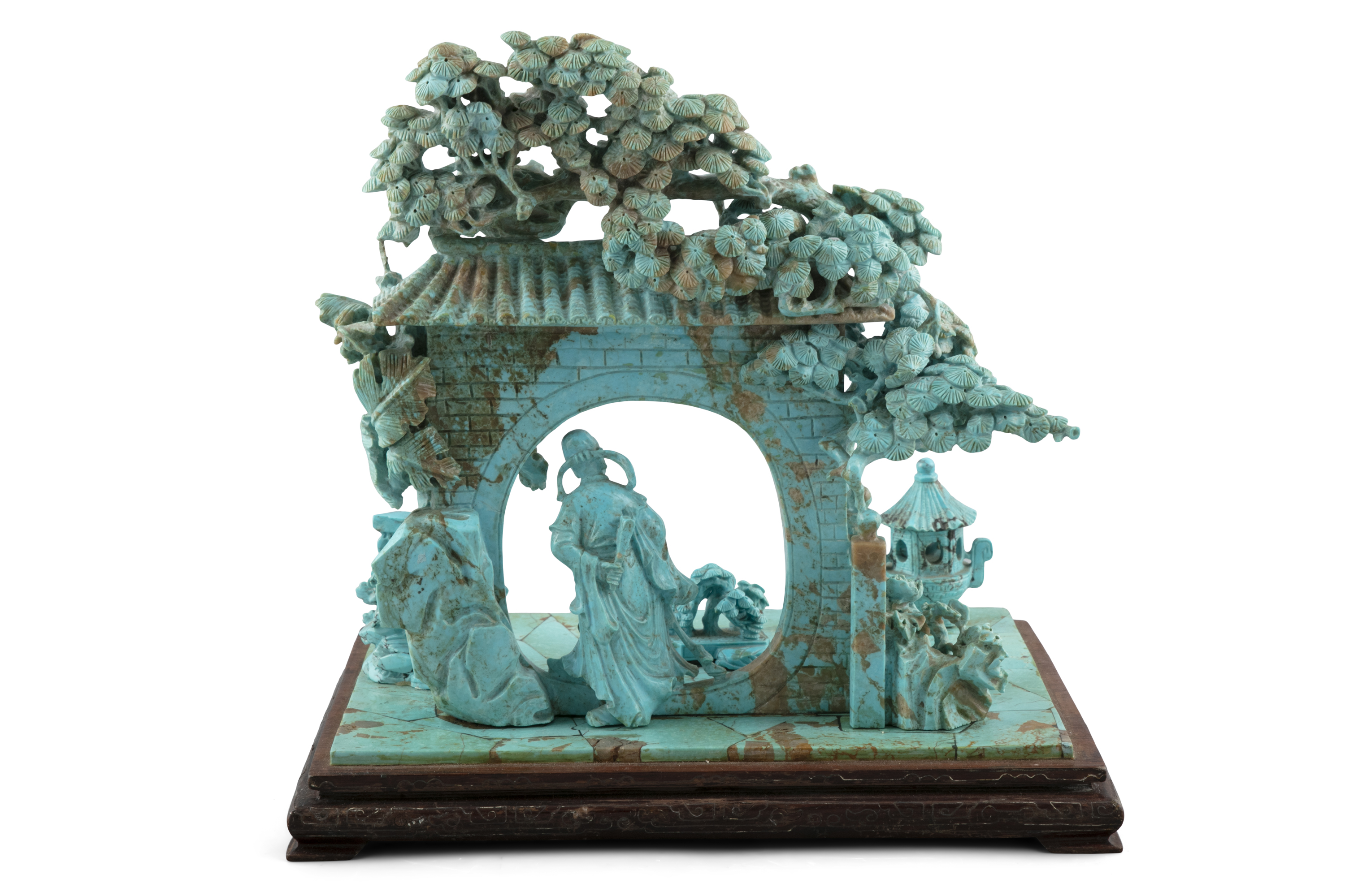 A LARGE AND UNUSUAL TURQUOISE MATRIX LANDSCAPE China, 20th century An important and large group - Image 14 of 22