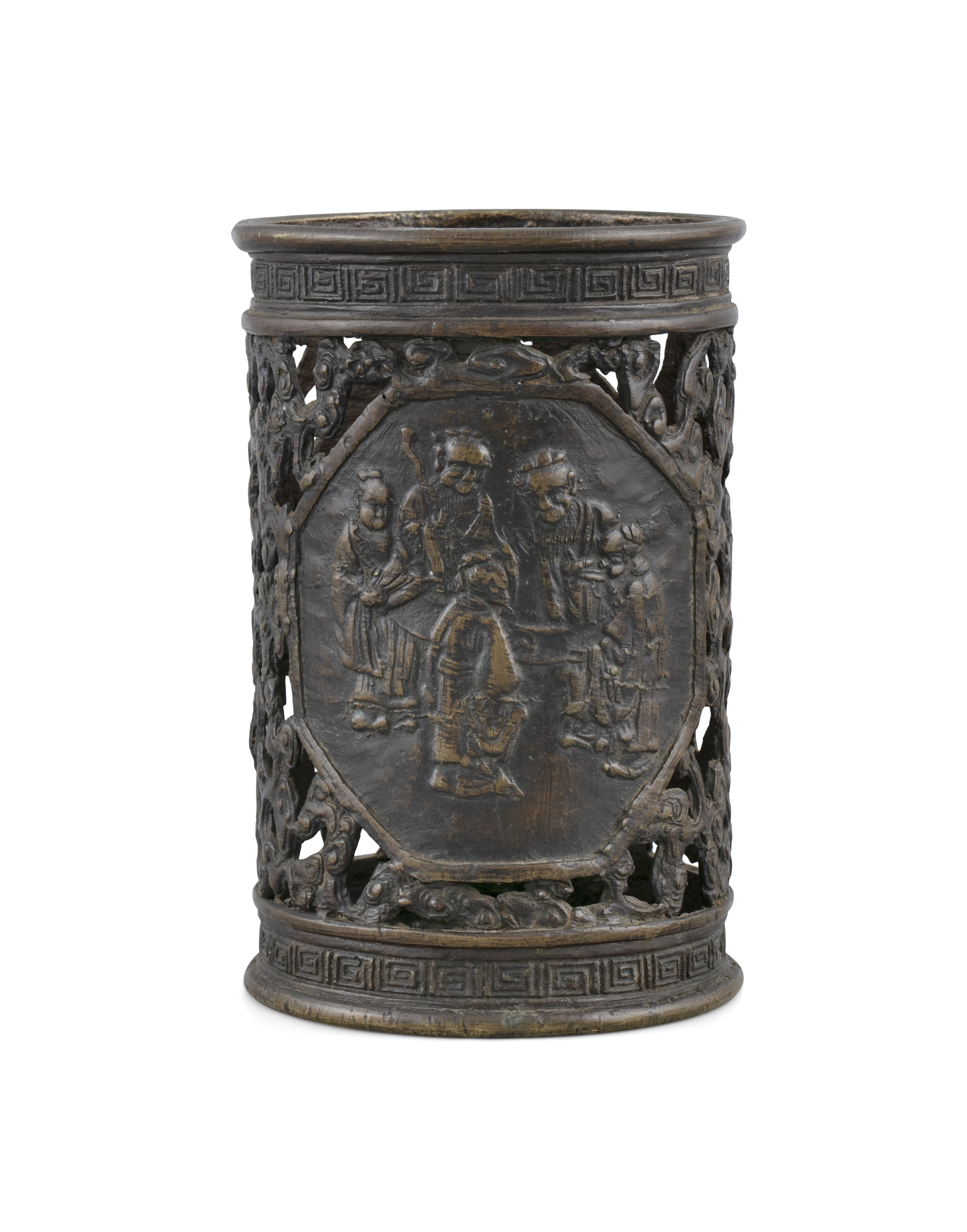 A PARCEL RETICULATED BROWN-PATINA BRONZE 'IMMORTALS' BRUSHPOT China, late Qing Dynasty H: 12,3
