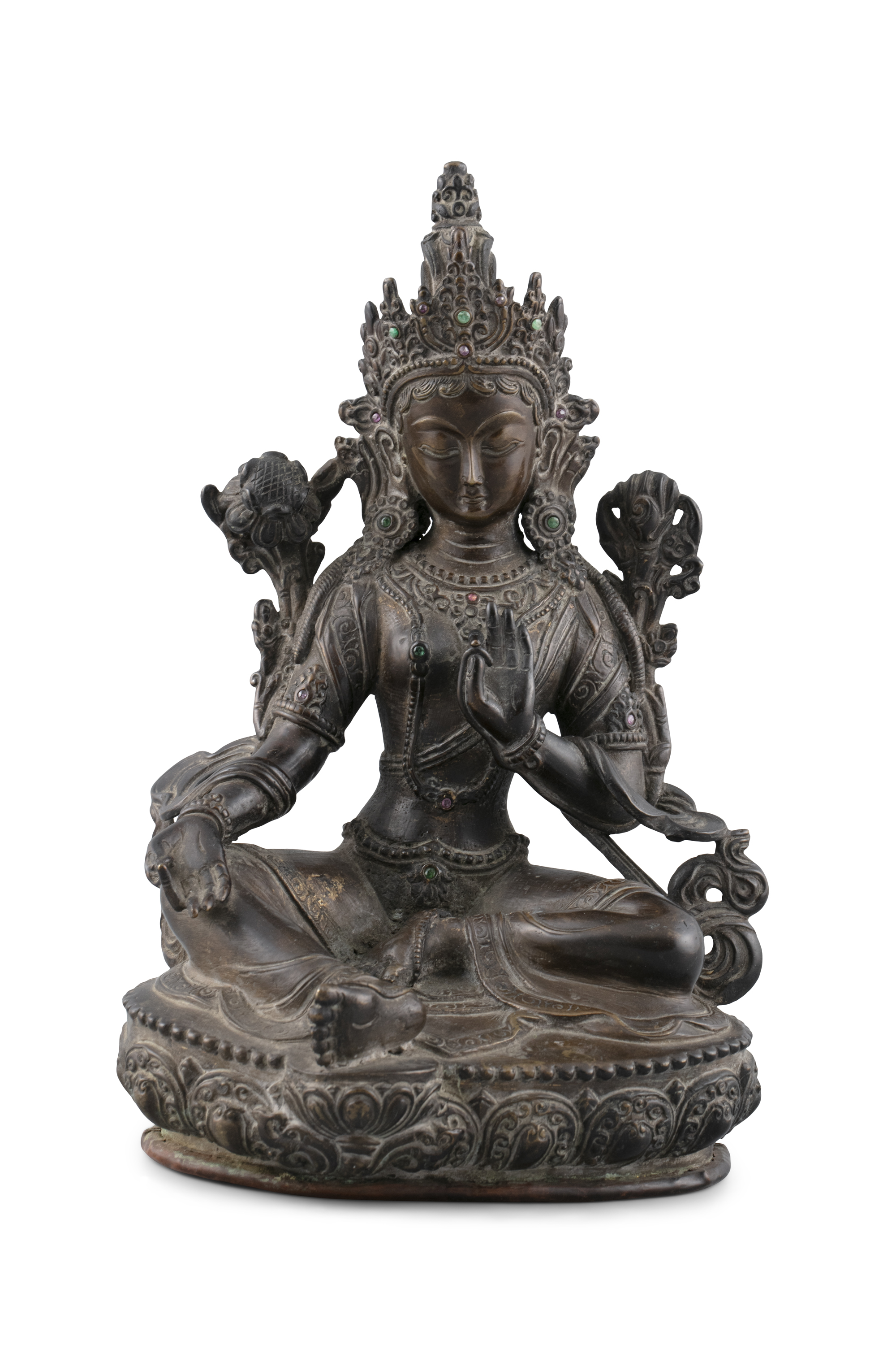 A BRONZE FIGURE OF A SEATED TARA Possibly Nepal and 19th century The goddess is seated in