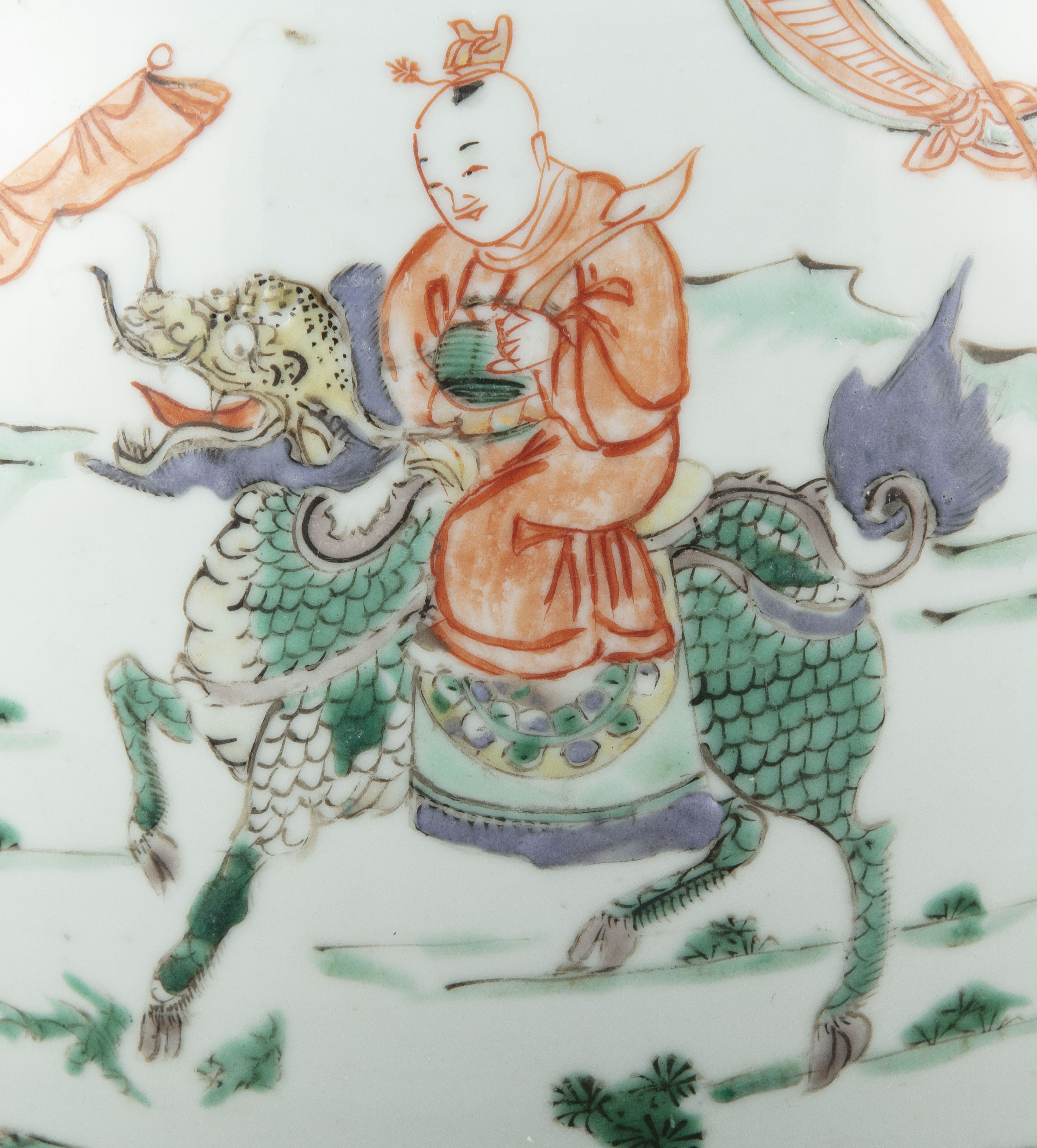 A FAMILLE VERTE 'BOY AND QILIN' PORCELAIN GINGER JAR China, Qing Dynasty, Kangxi period Adorned in - Image 5 of 20