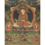 A THANGKA OF PADMASAMBHAVA Tibeto Chinese, 19th century With a fabric mount Dimensions (the sole