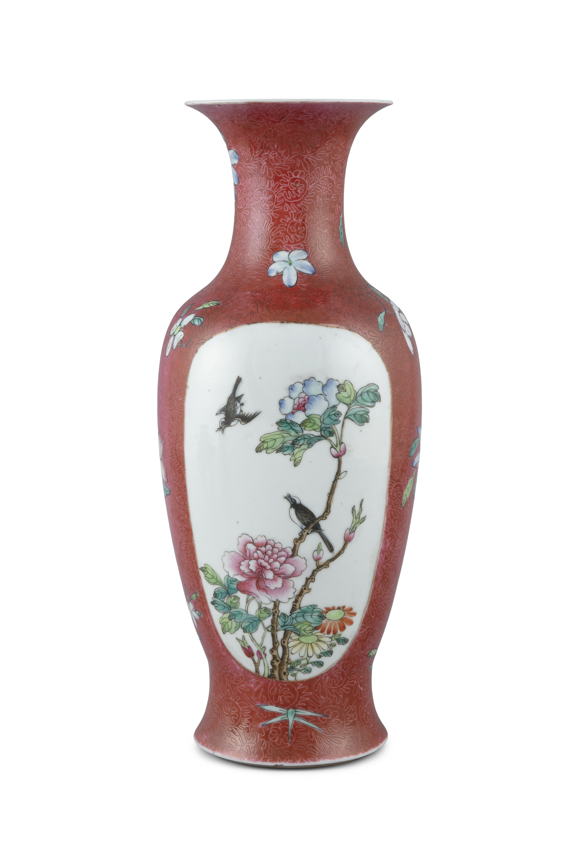 A SGRAFFIATO RUBY GROUND 'MAGPIES' PORCELAIN BALUSTER VASE, FENGWEIZUN China, Second half of 20th