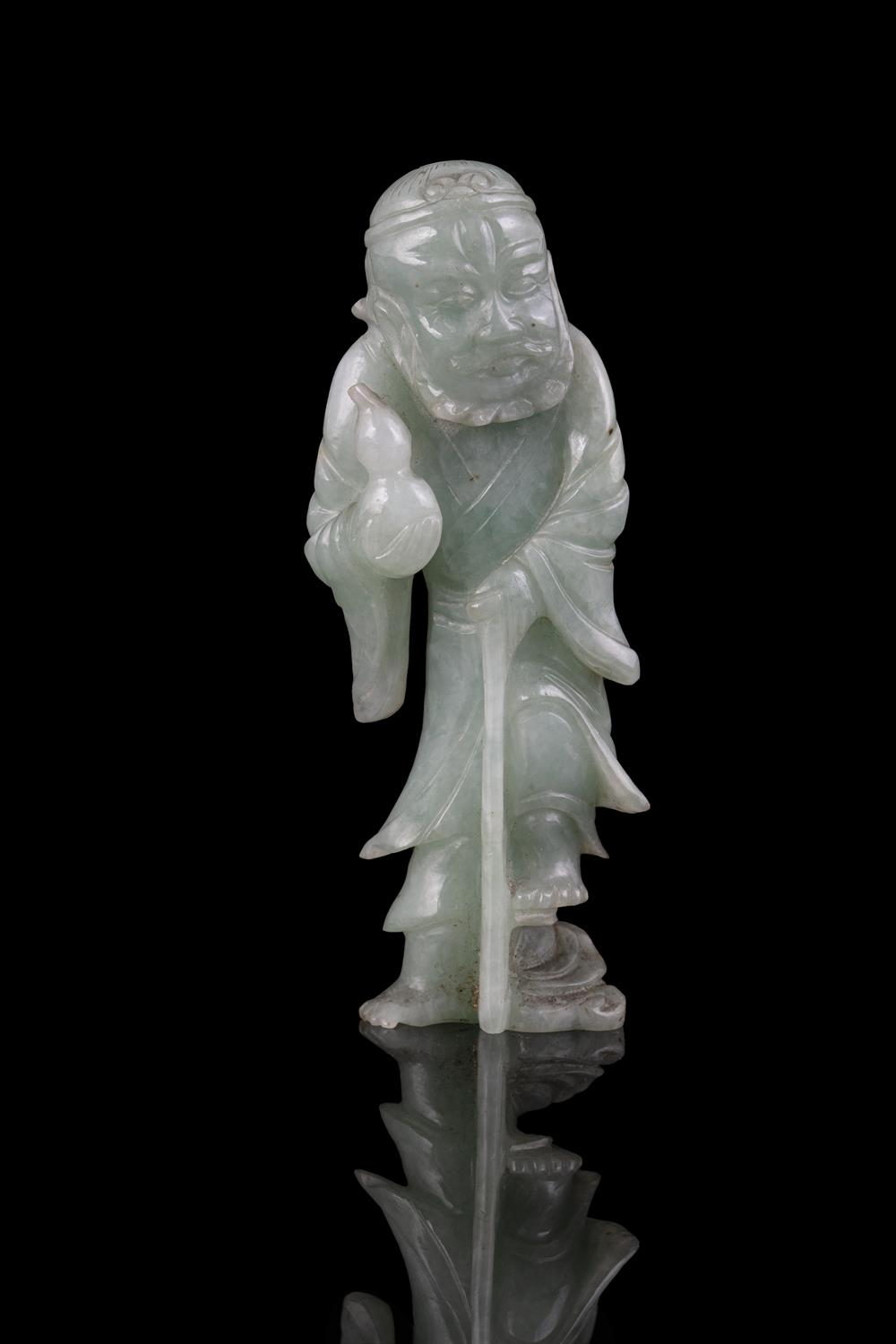 A JADEITE JADE FIGURE OF A STANDING TIEGUAI LI China, Circa 1900 The immortal is depicted with a - Image 15 of 20
