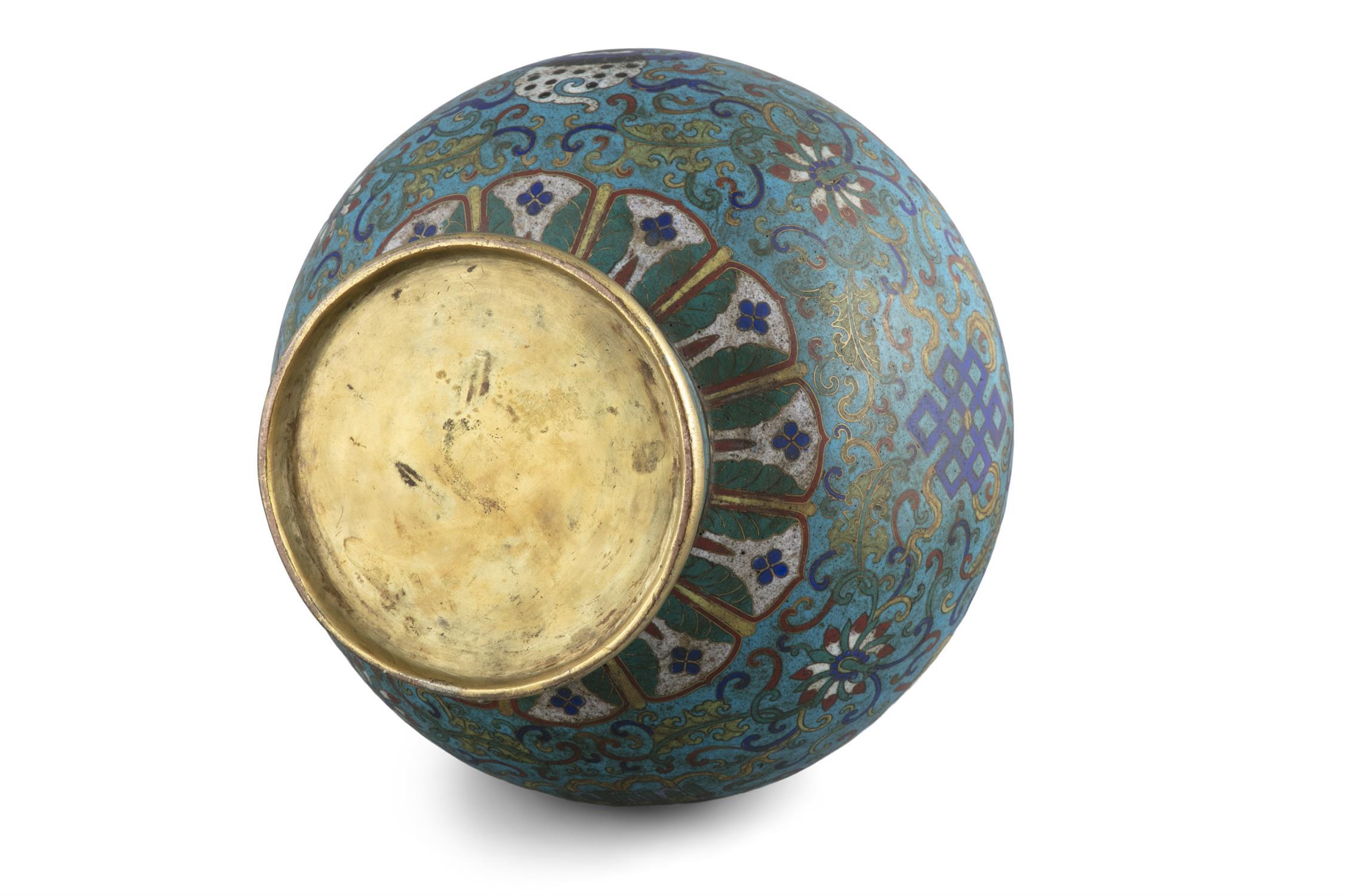 A LARGE 'ASHTAMANGALA' CLOISONNE BRONZE JAR, HU China, Qing Dynasty, 19th century Richly adorned - Image 10 of 24