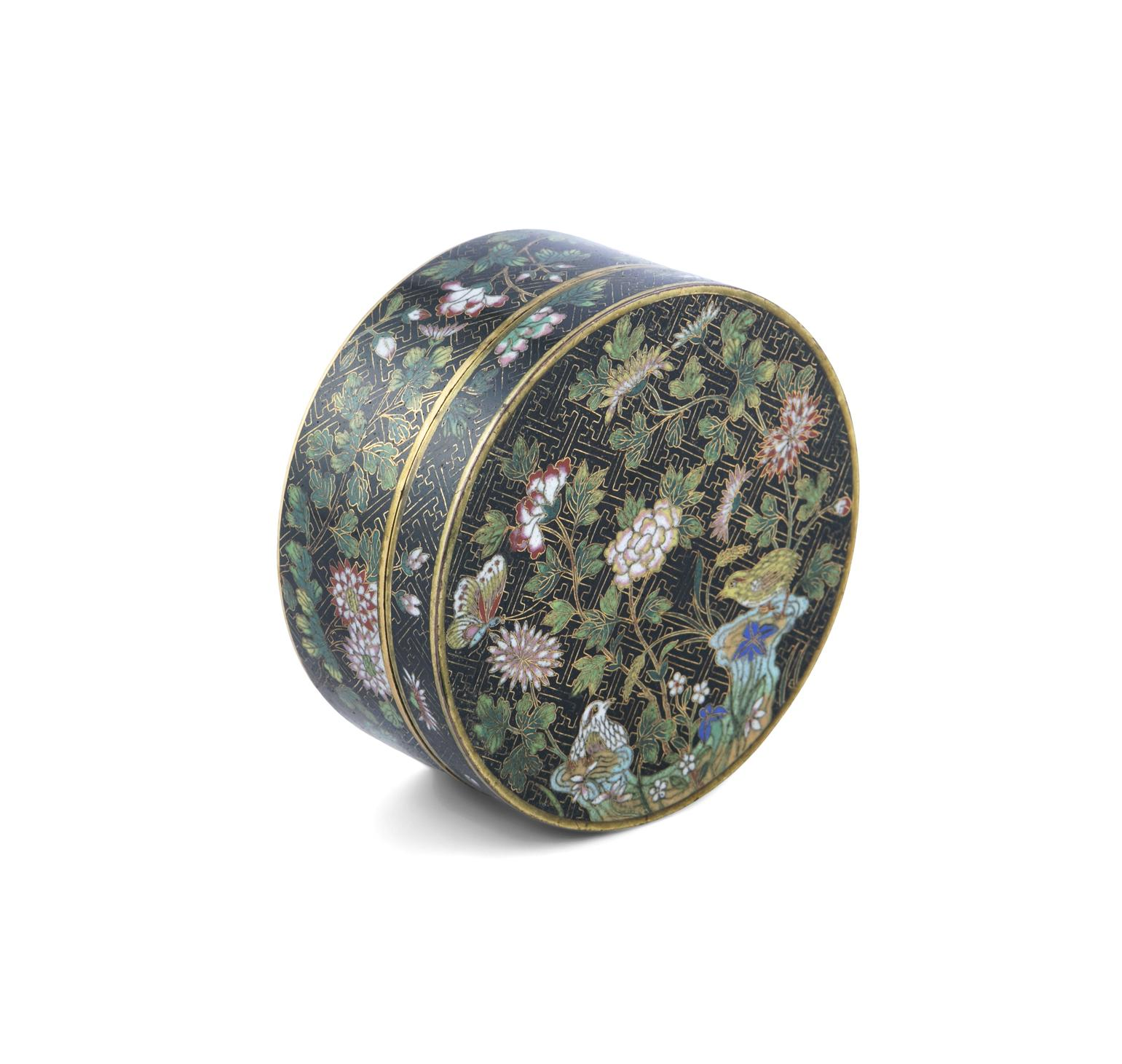 A 'FLOWER AND ROCKS' ROUND CLOISONNE BOX AND COVER China, Late Qing to Republican / Minguo period