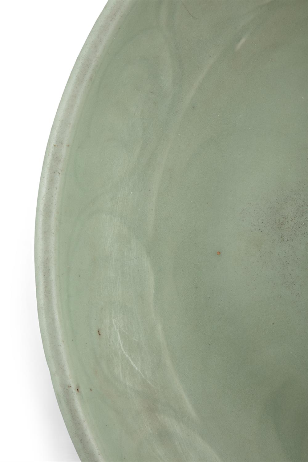 A LONGQUAN CELADON 'FLORAL SPRAY' FLAT DISH With a both engraved and molded design, the center - Image 10 of 11