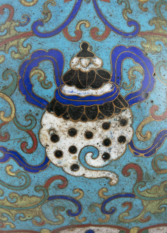 A LARGE 'ASHTAMANGALA' CLOISONNE BRONZE JAR, HU China, Qing Dynasty, 19th century Richly adorned - Image 12 of 24