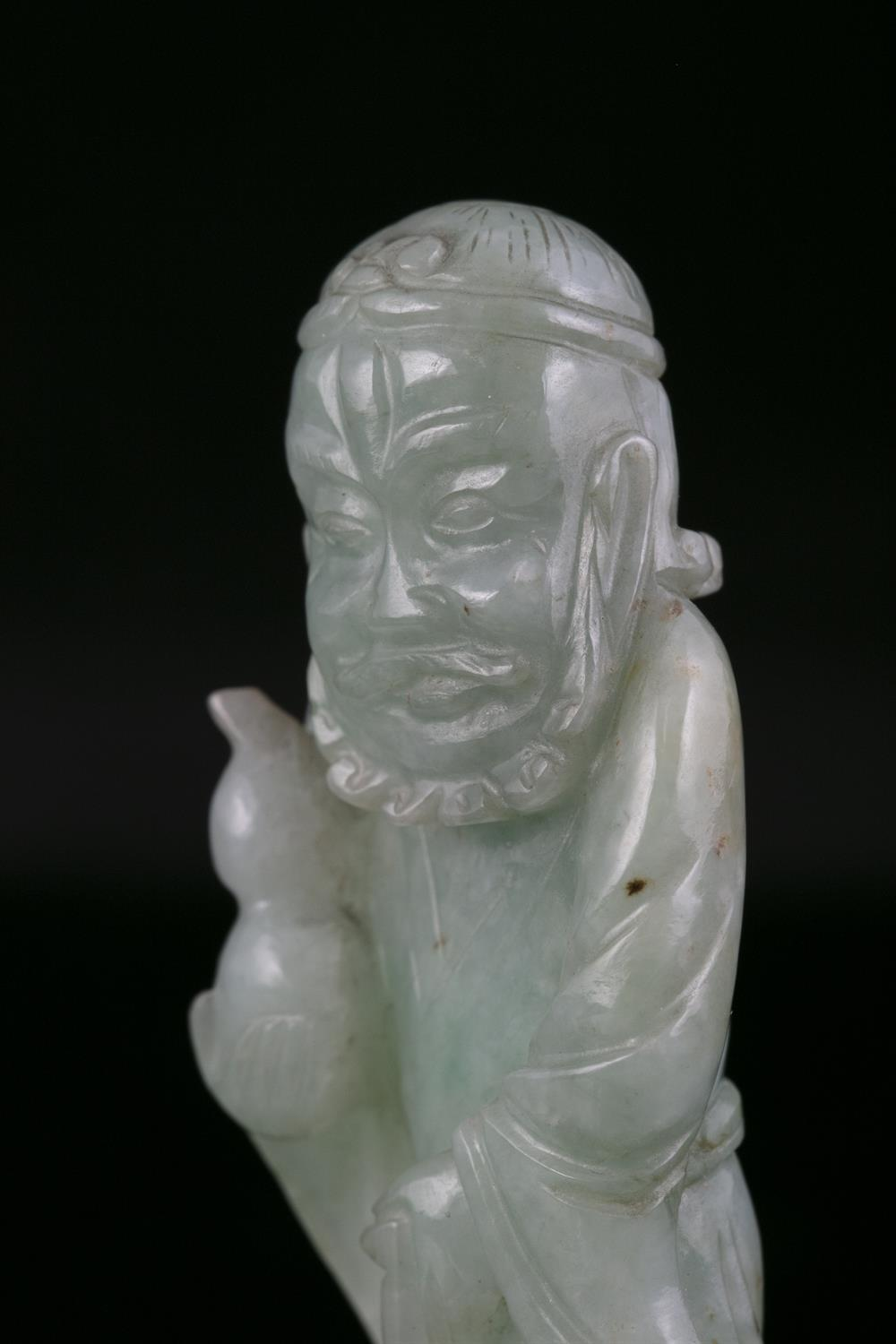 A JADEITE JADE FIGURE OF A STANDING TIEGUAI LI China, Circa 1900 The immortal is depicted with a - Image 17 of 20