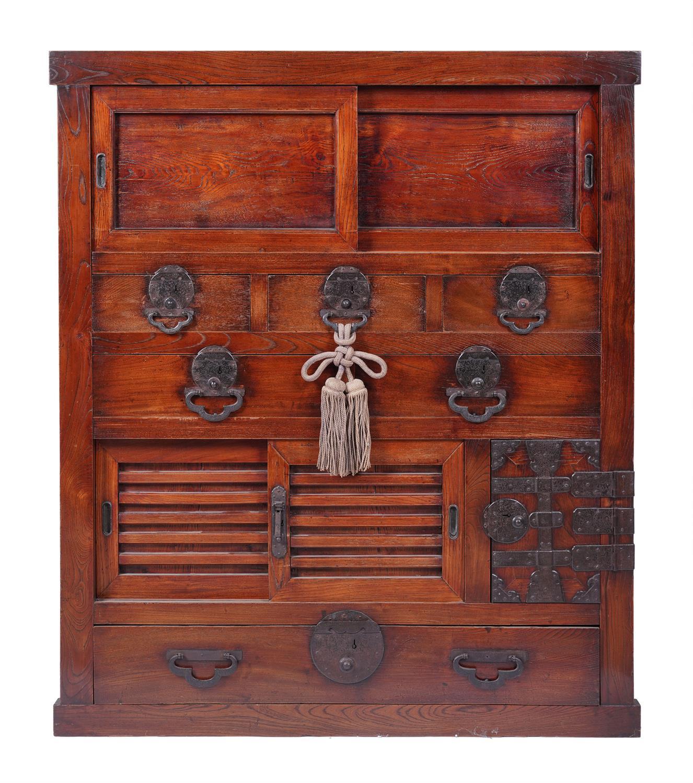 .A KEYAKI AND HINOKI WOOD DOCUMENT CHEST, CHOBA DANSU Japan, Meiji period The front part opening