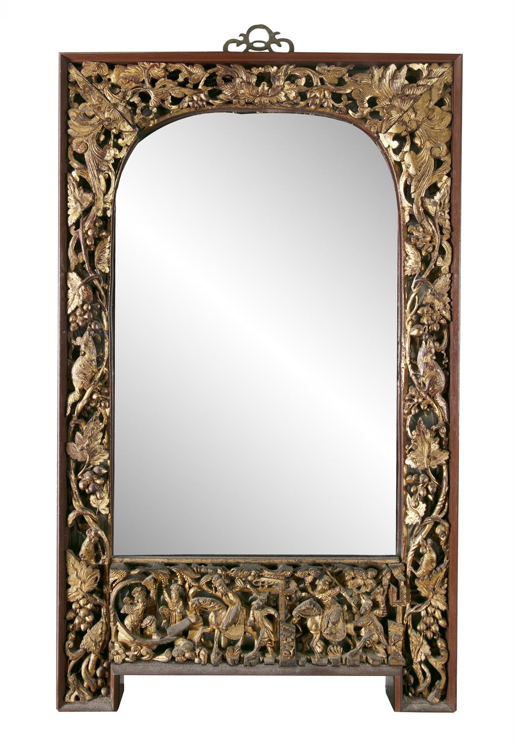 A PARCEL GILT-LACQUERED 'SQUIRRELS AND GRAPES' RETICULATED WOODEN FRAME SET WITH A MIRROR, Vietnam/ - Image 3 of 3