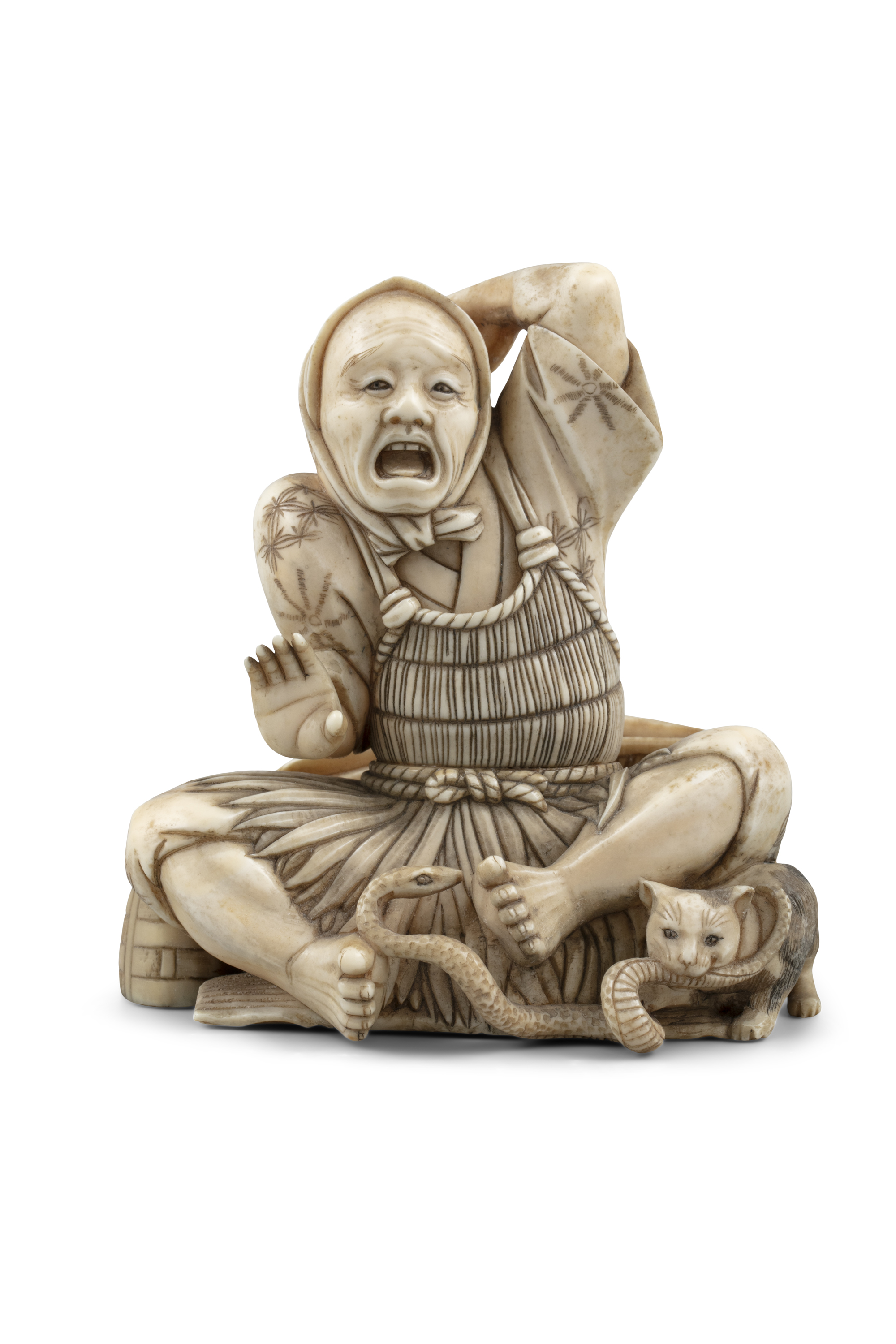 *MASAHIDE 正秀: A CARVED IVORY OKIMONO OF SCARED MAN WITH A CAT AND A SNAKE Japan, Meiji period,