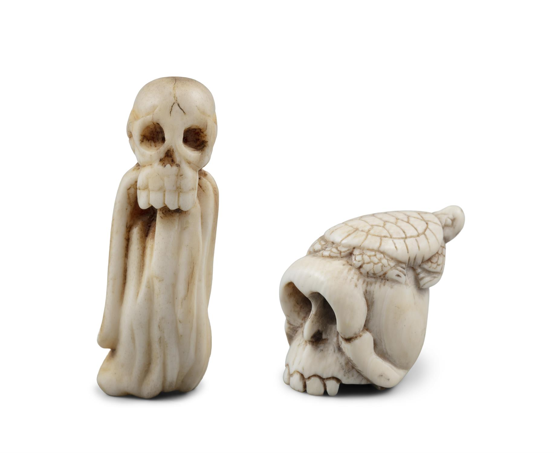 *VANITY - A GROUP OF TWO (2) 'SKULL' KATABORI NETSUKE Japan, 19th century The first one carved out - Image 10 of 18