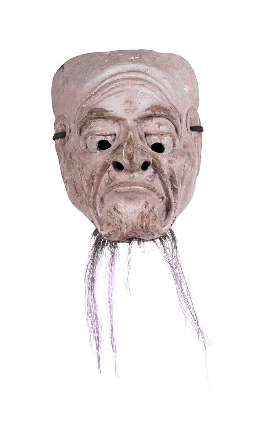 .A LACQUERED WOODEN MASK OF AN OLD MAN Japan, 19th century H: 18,2 cm - w: 14,5 cm Provenance: A - Image 3 of 4