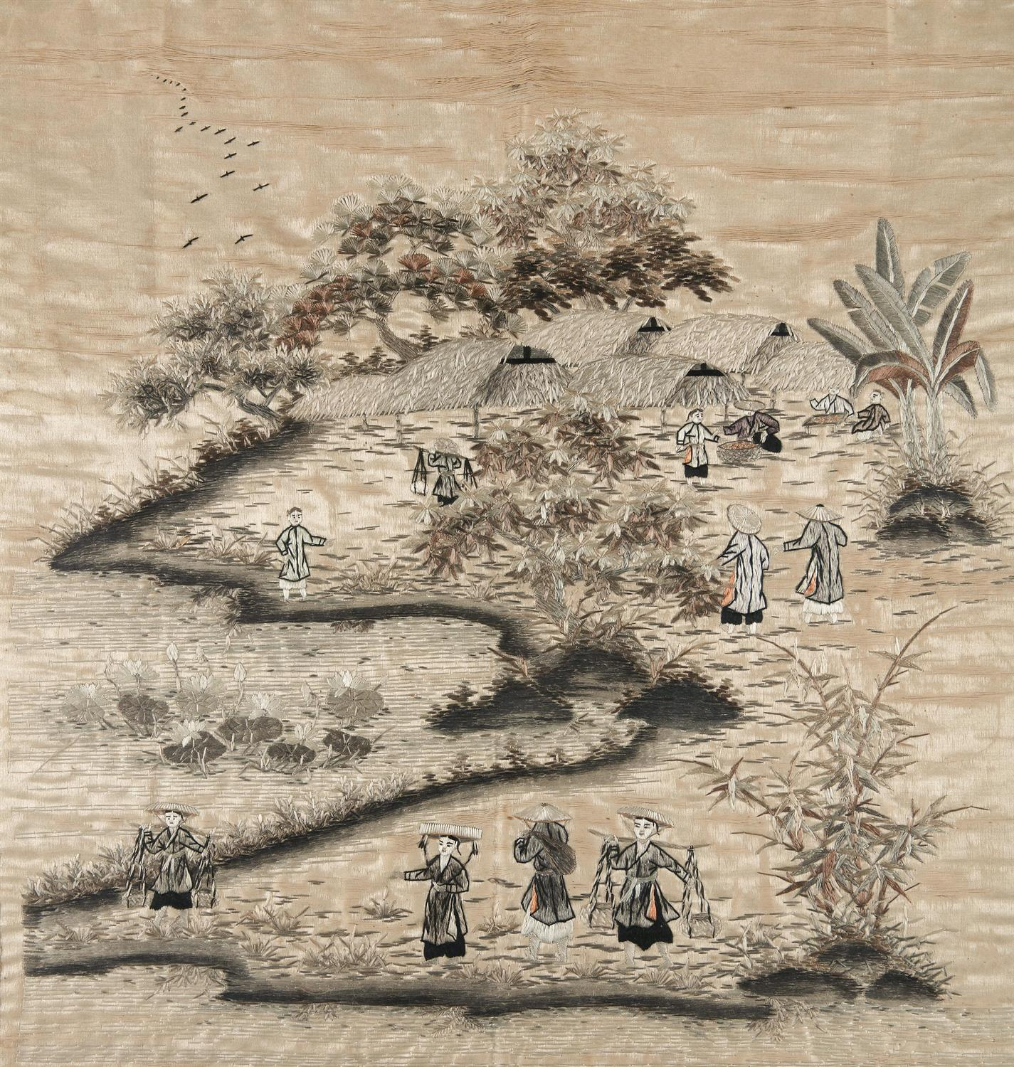 A 'PROCESSION' EMBROIDERED SILK PANEL Vietnam / Indochina, 20th century 48,5 x 46 cm TRANH LỤA - Image 4 of 6