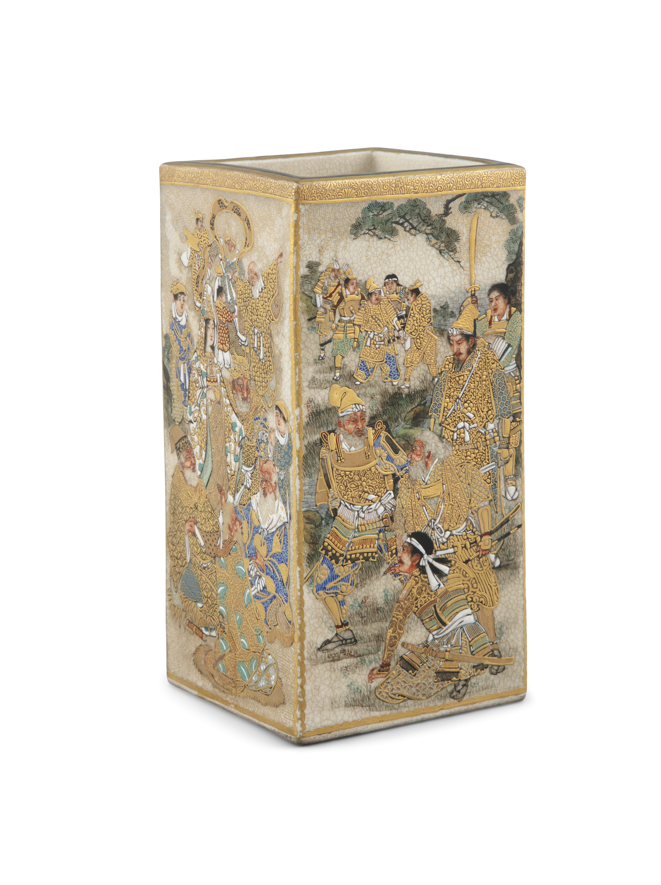 A SATSUMA 'WARRIORS' SQUARE POT POSSIBLY BY RYUZAN 龍山 Japan, Meiji period Richly adorned in gilt and