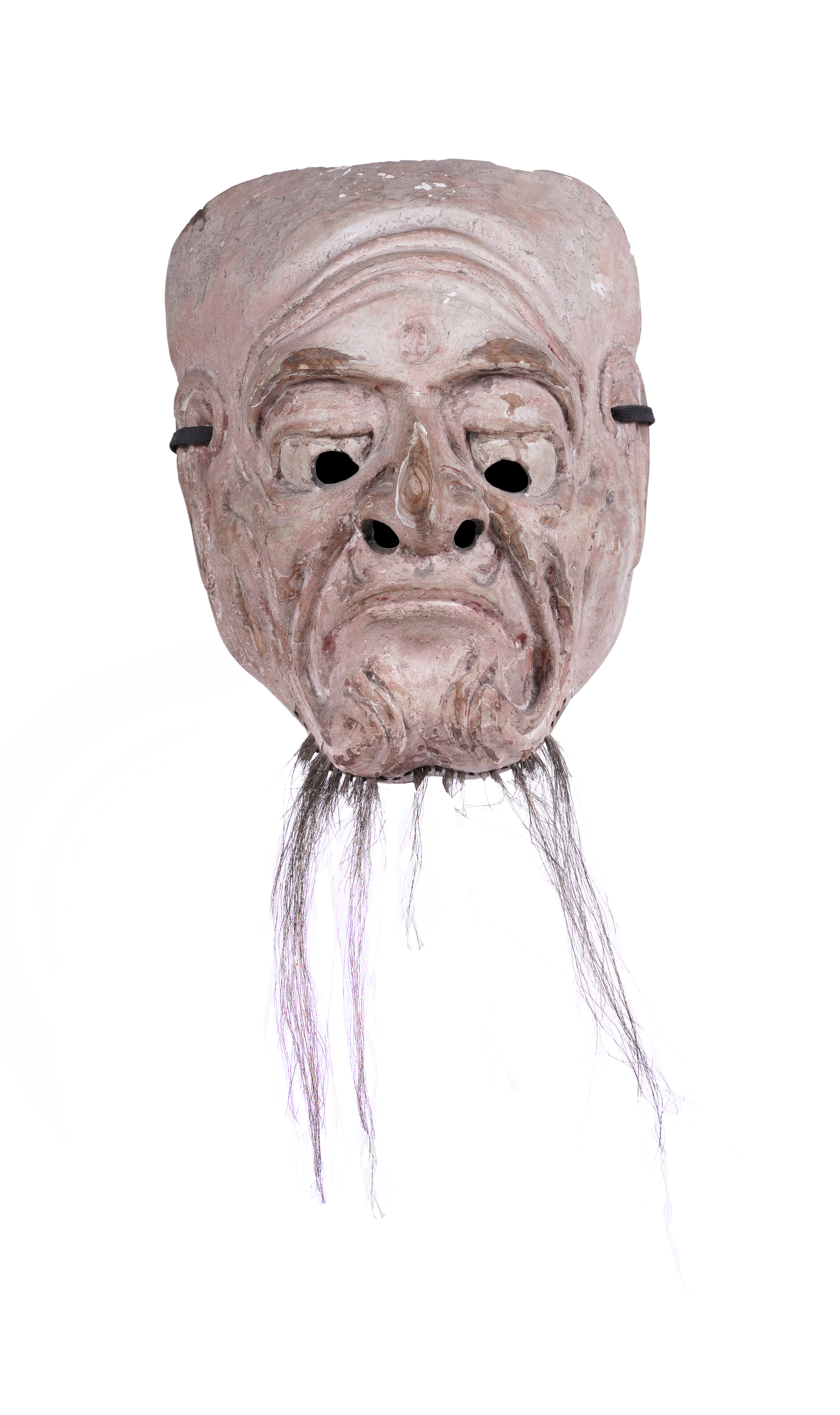 .A LACQUERED WOODEN MASK OF AN OLD MAN Japan, 19th century H: 18,2 cm - w: 14,5 cm Provenance: A