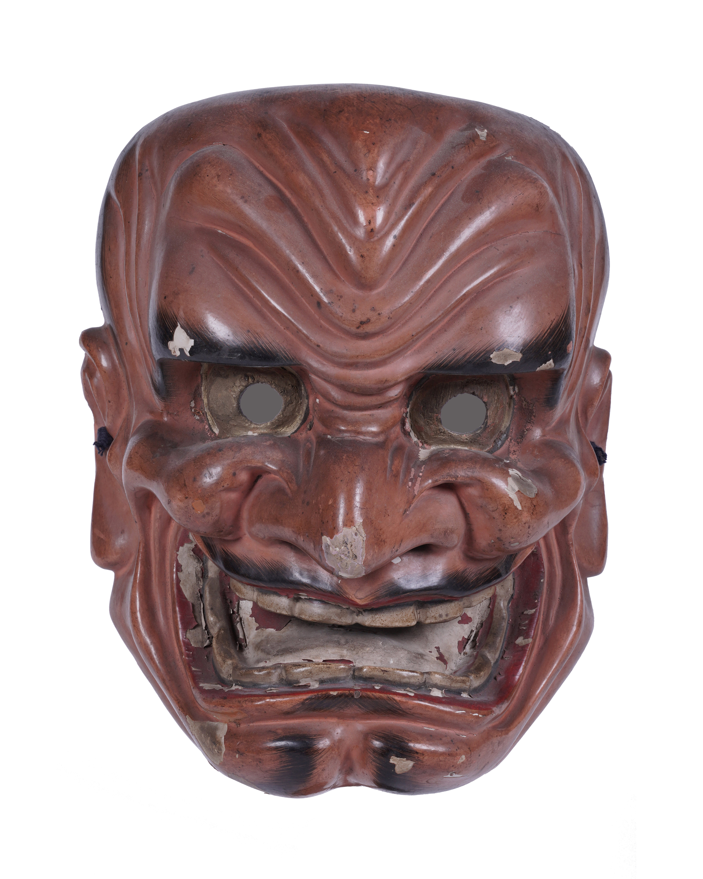 .A SIGNED RED LACQUERED WOODEN MASK Japan, 19th century The inner part bearing a signature. H: 26,