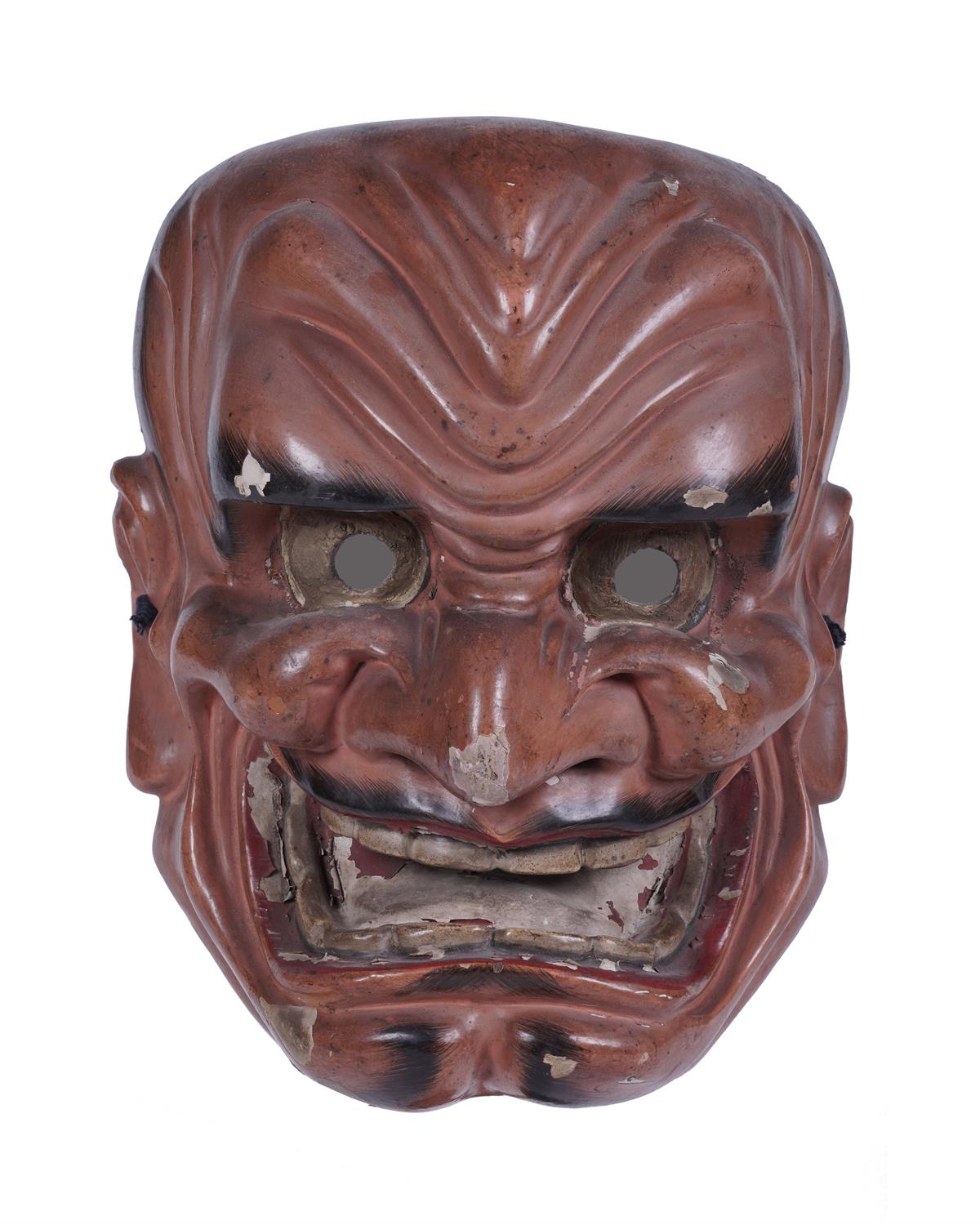 .A SIGNED RED LACQUERED WOODEN MASK Japan, 19th century The inner part bearing a signature. H: 26, - Image 4 of 6
