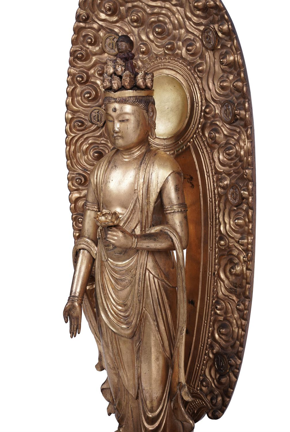 .A GILT LACQUERED WOODEN SCULPTURE OF A STANDING 'ELEVEN HEAD' KANNON BOSATSU Japan, Edo period - Image 4 of 4