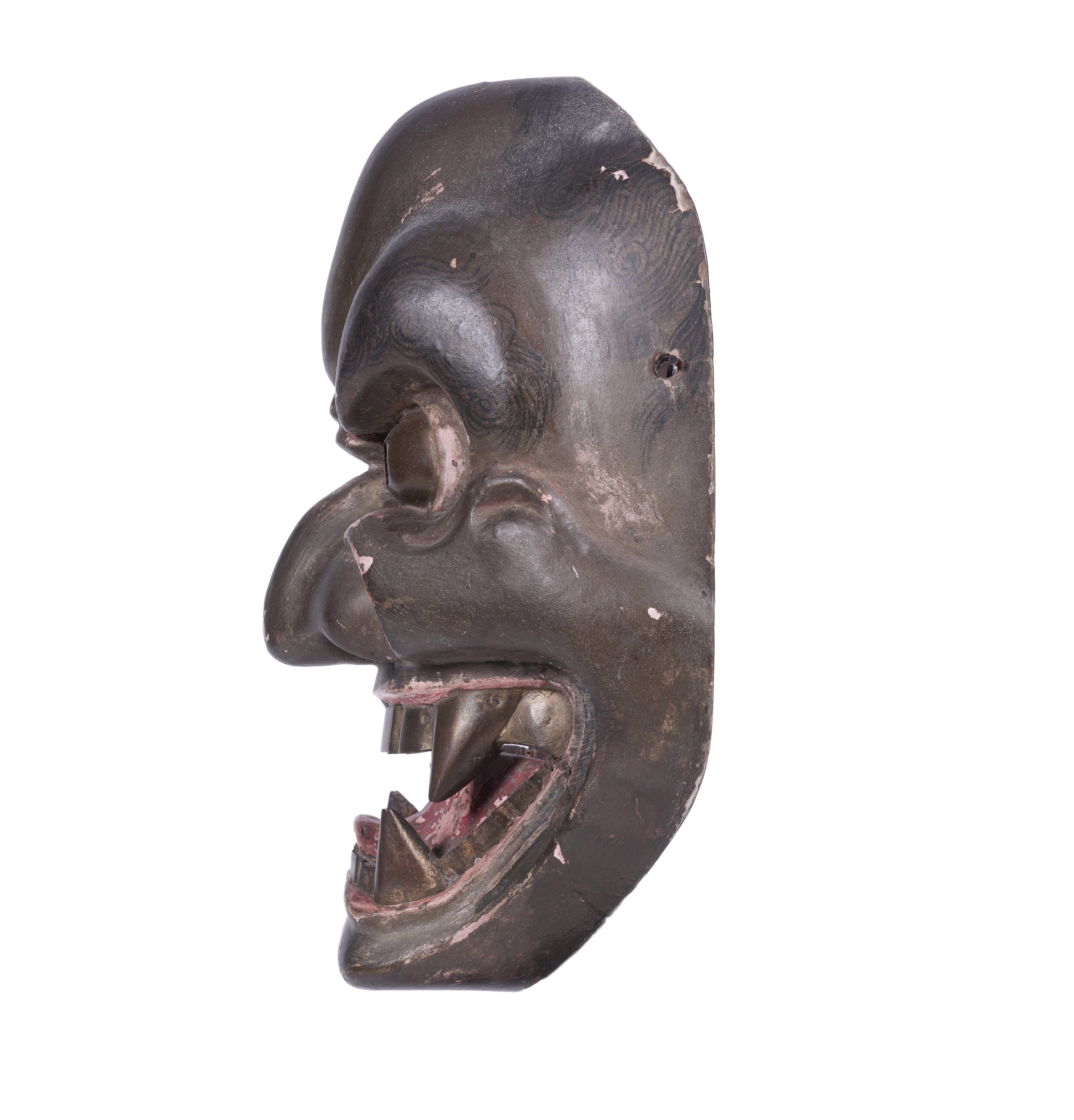 .A LACQUERED WOODEN MASK Japan, 19th century H: 21 cm - w: 15,5 cm Provenance: A curated selection - Image 2 of 4