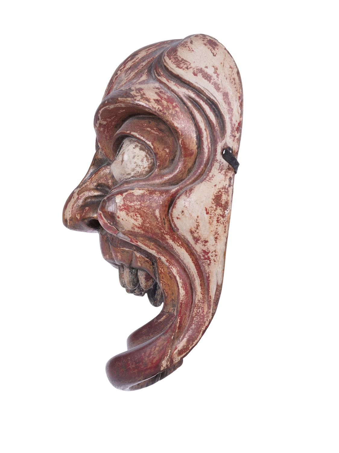 .A LACQUERED 'TOOTHLESS' WOODEN MASK Japan, 19th century H: 22 cm - w: 16 cm Provenance: A curated - Image 4 of 4