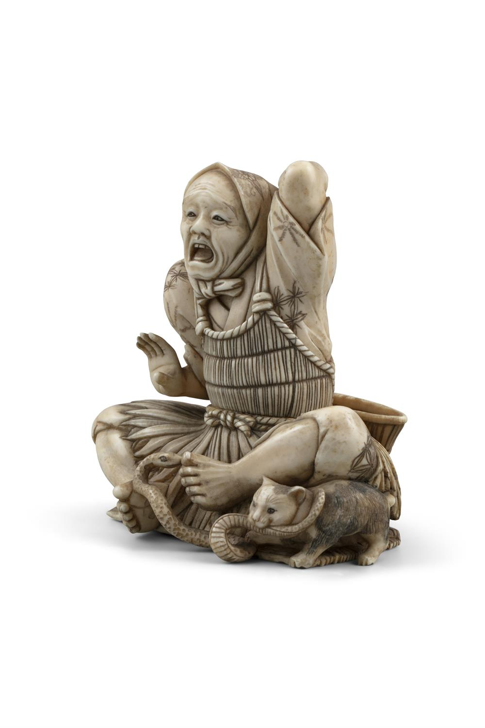 *MASAHIDE 正秀: A CARVED IVORY OKIMONO OF SCARED MAN WITH A CAT AND A SNAKE Japan, Meiji period, - Image 10 of 14