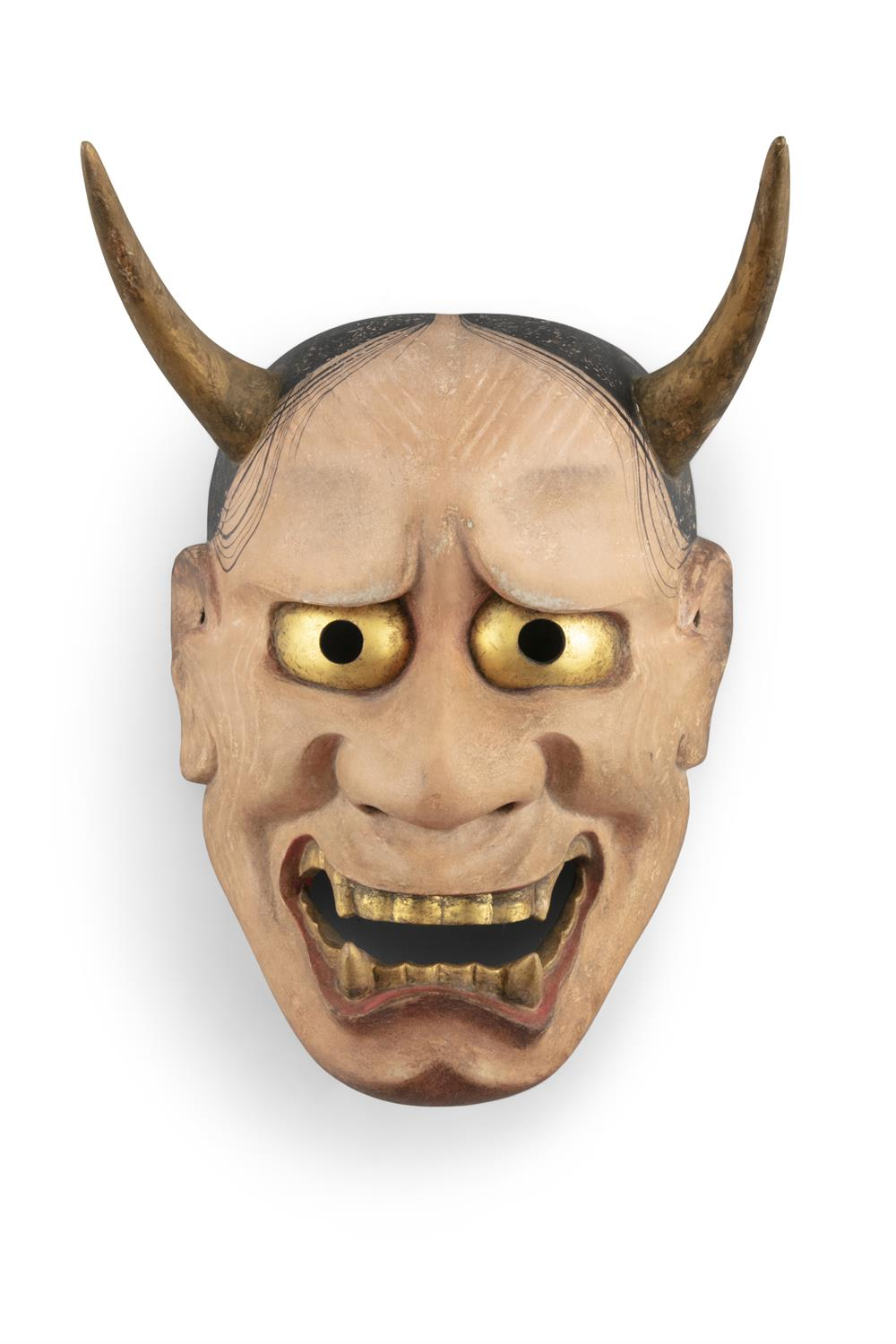 A NOH THEATER MASK OF HANNYA Japan, Showa period A lacquered wooden mask the inner part engraved - Image 4 of 6