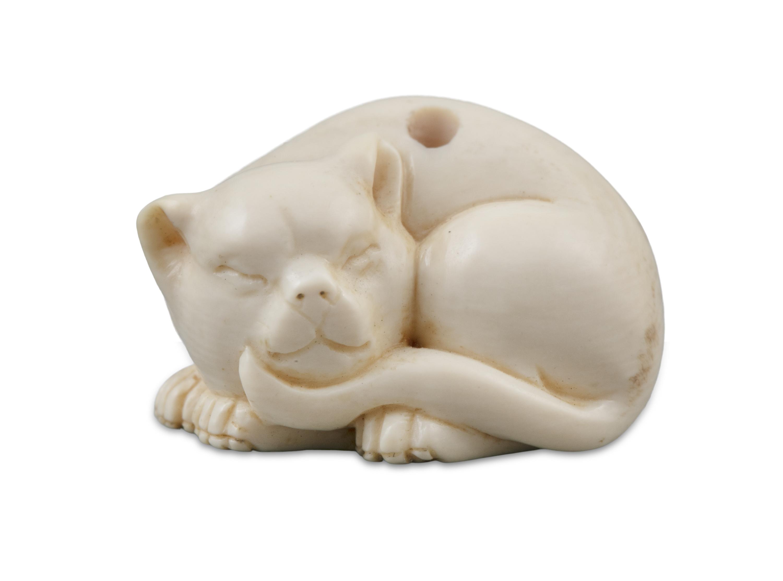 *TOMOTSUGU友次: A MINIATURE IVORY 'SLEEPING CAT' KATABORI NETSUKE Japan, 19th century Pierced