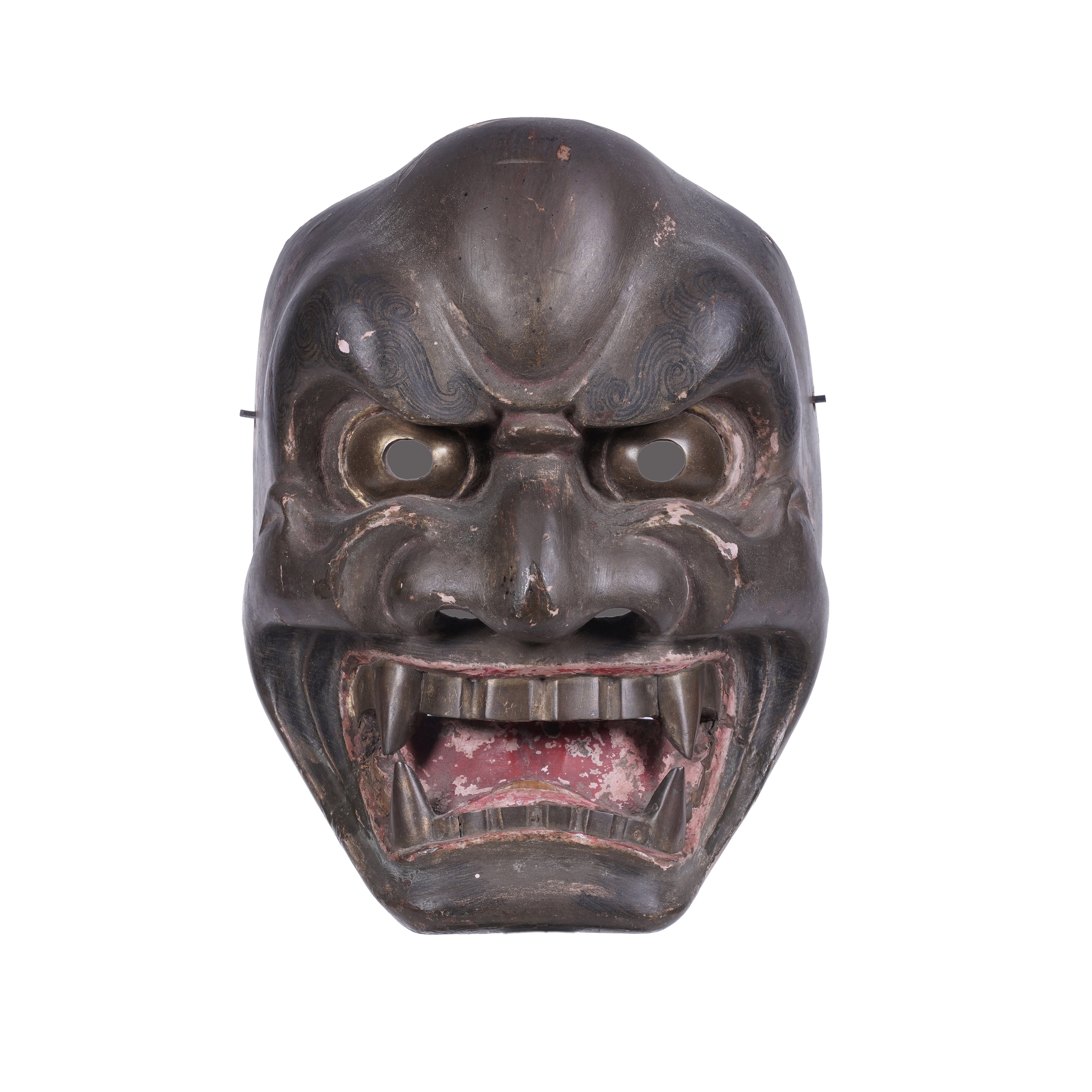 .A LACQUERED WOODEN MASK Japan, 19th century H: 21 cm - w: 15,5 cm Provenance: A curated selection