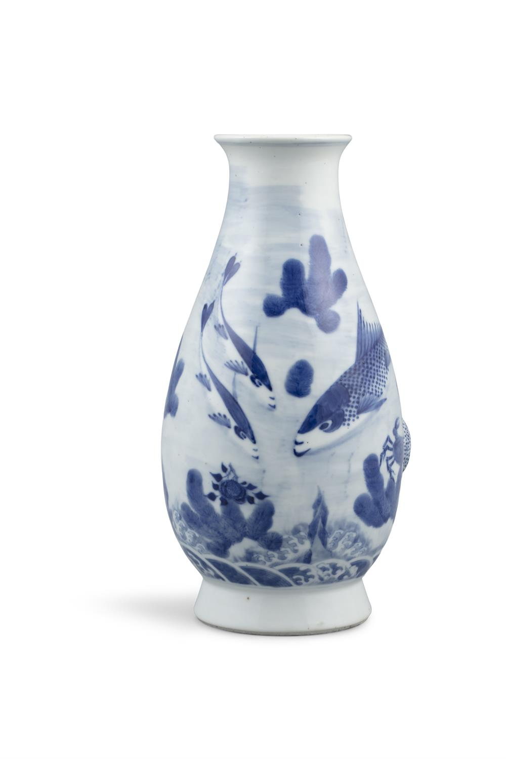 A BLUE AND WHITE 'CARPS AND CRAB' PORCELAIN BOTTLE VASE Most probably Japan, Meiji to Showa period - Image 4 of 6