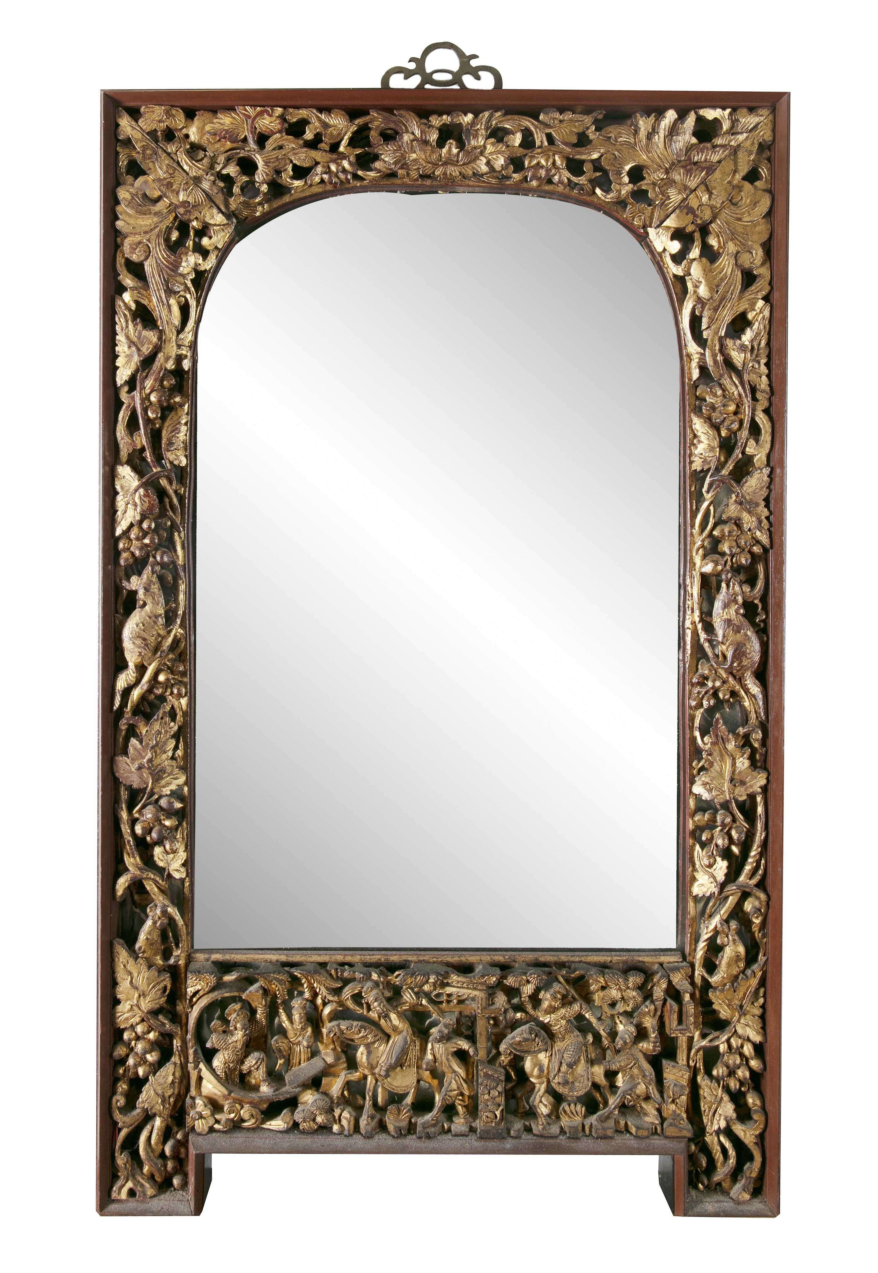 A PARCEL GILT-LACQUERED 'SQUIRRELS AND GRAPES' RETICULATED WOODEN FRAME SET WITH A MIRROR, Vietnam/ - Image 2 of 3