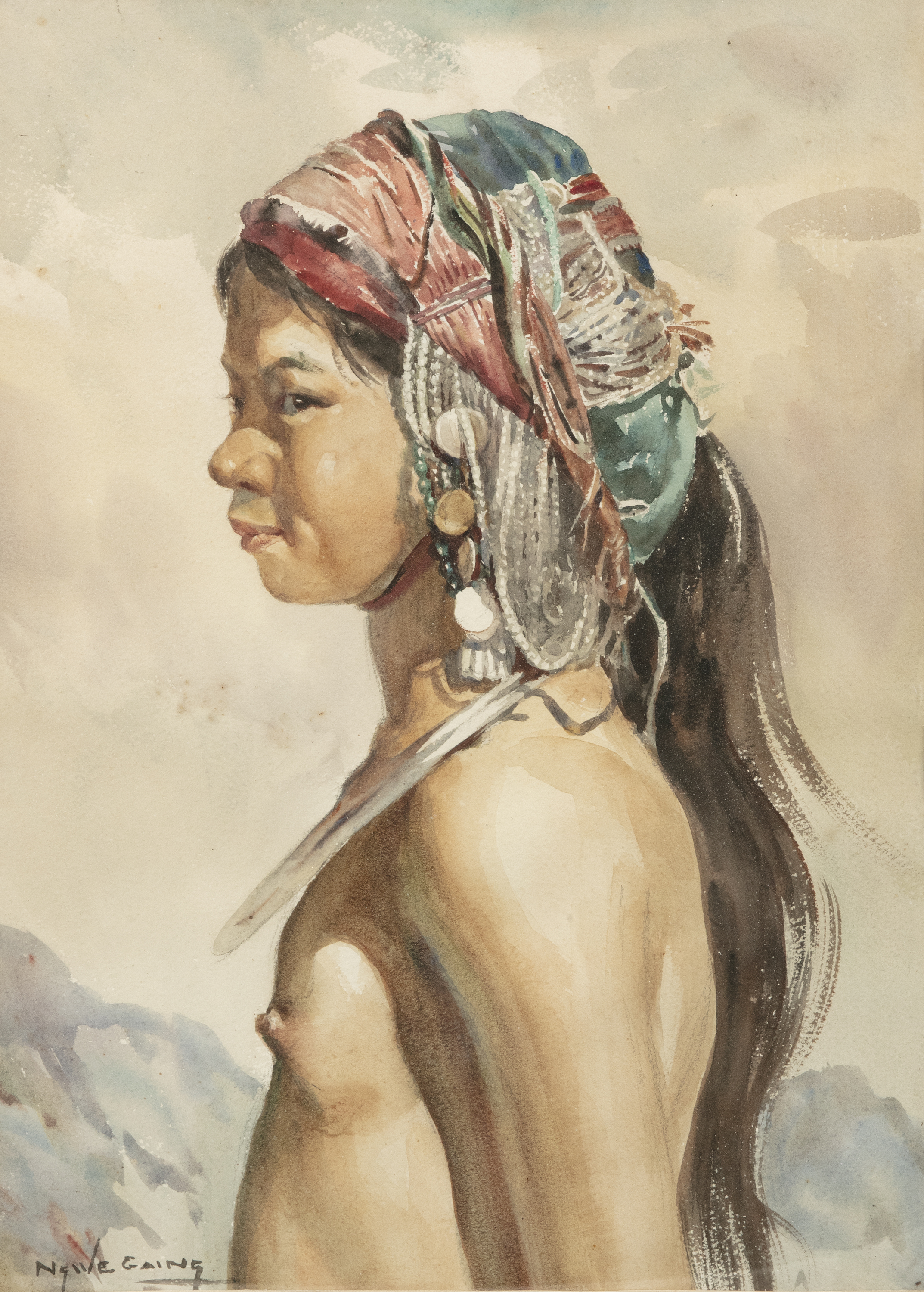 U Ngwe Gaing ငွေကိုင် (1901-1967) Portrait of a young girl from a tribe Mixed media, watercolour