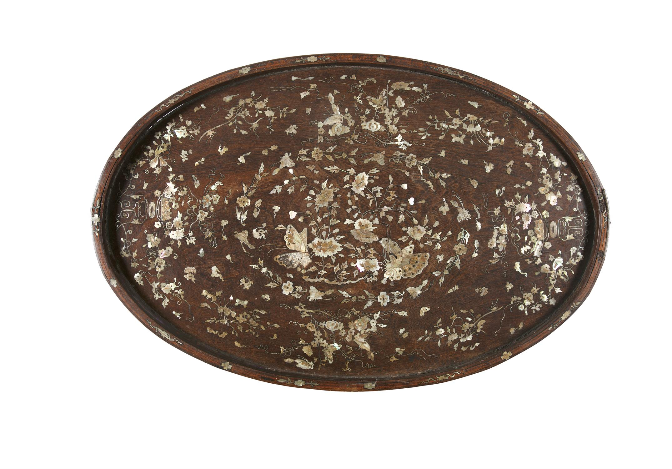 *AN OVATE MOTHER-OF-PEARL INLAID WOODEN MANDARIN TRAY Vietnam, Tonkin, Nam Dinh, Nguyen Dynasty, - Image 3 of 5