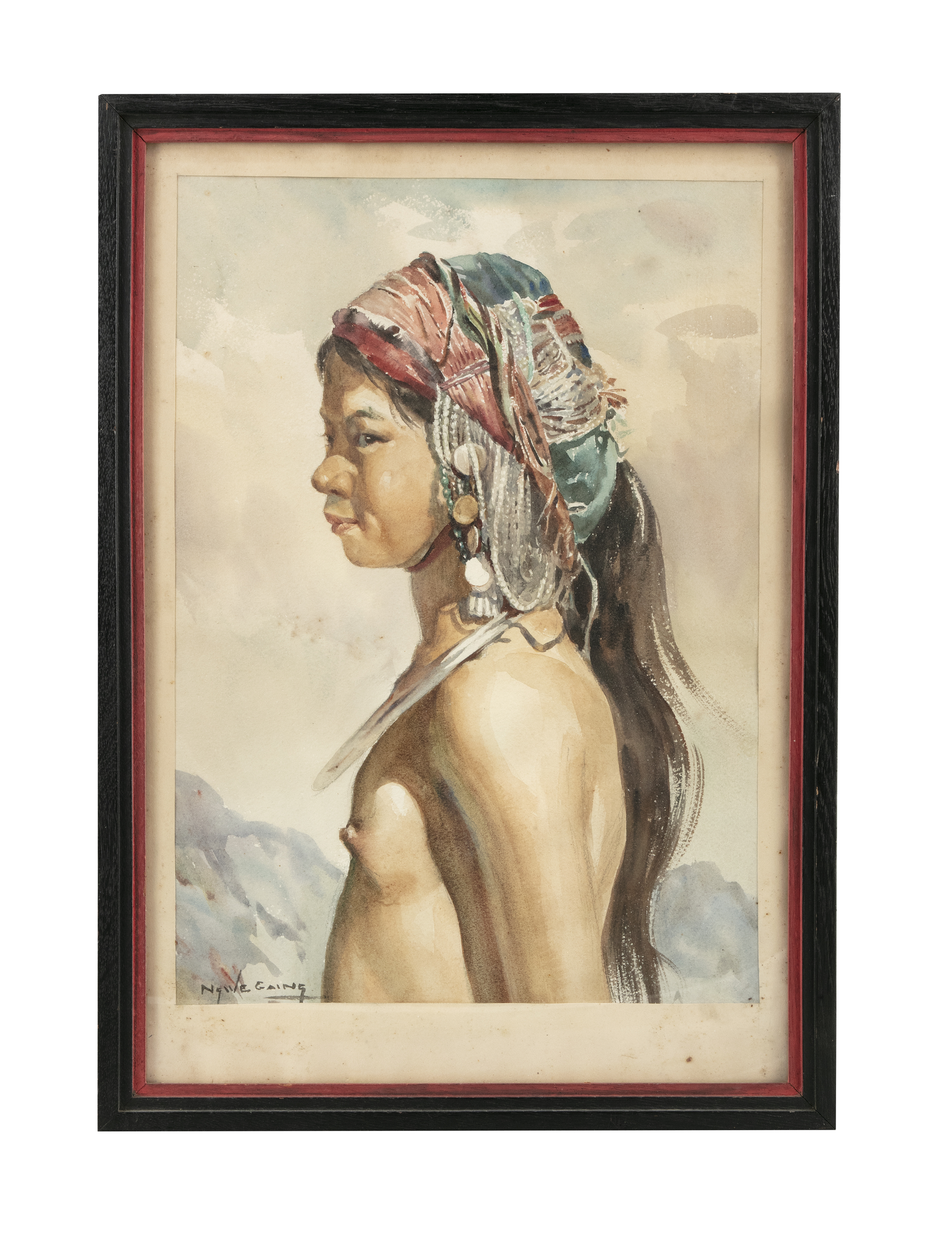 U Ngwe Gaing ငွေကိုင် (1901-1967) Portrait of a young girl from a tribe Mixed media, watercolour - Image 7 of 8