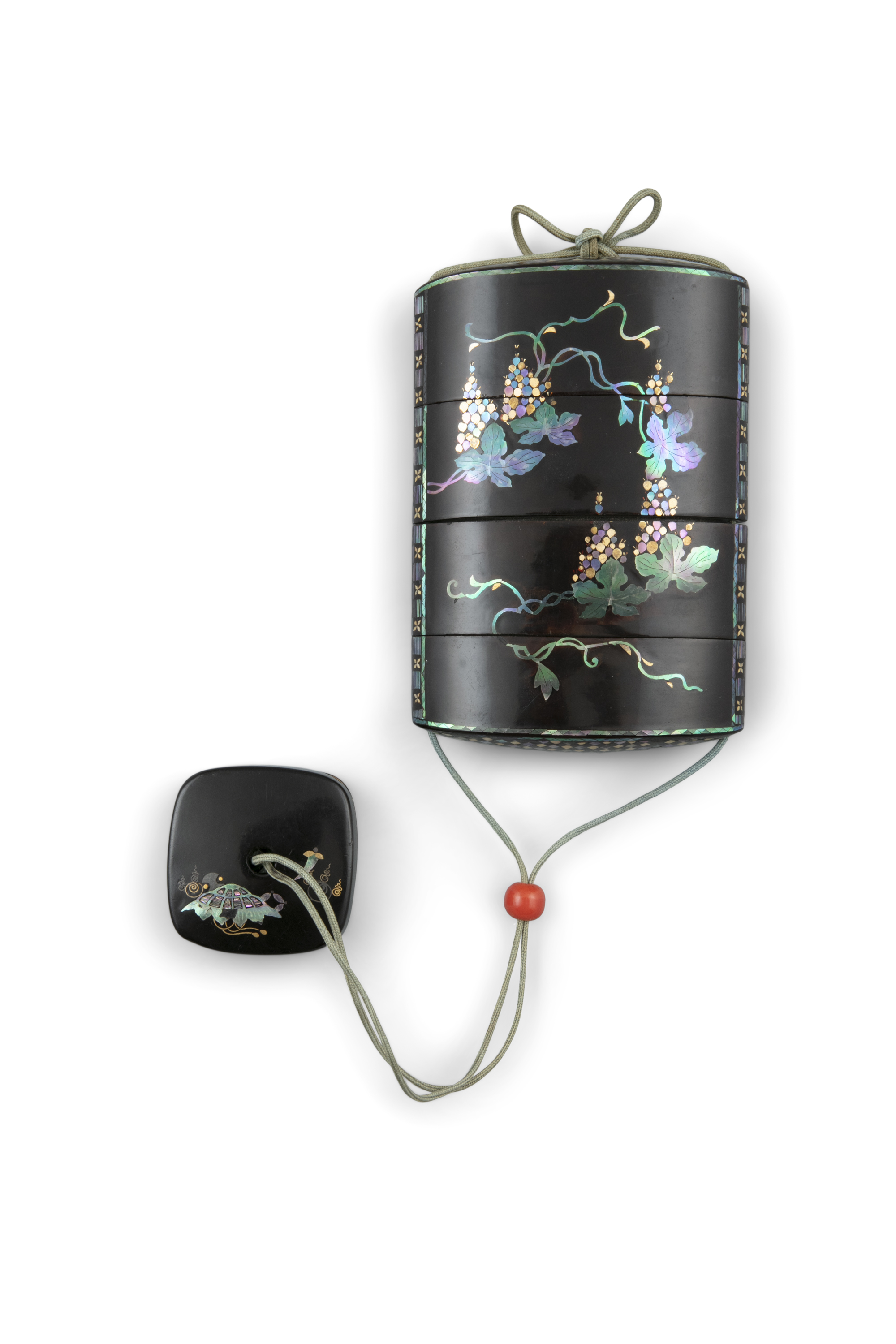 *A MOTHER-OF-PEARL INLAYS FOUR-COMPARTMENT ROIRO LACQUER INRO Japan, Showa period With nice