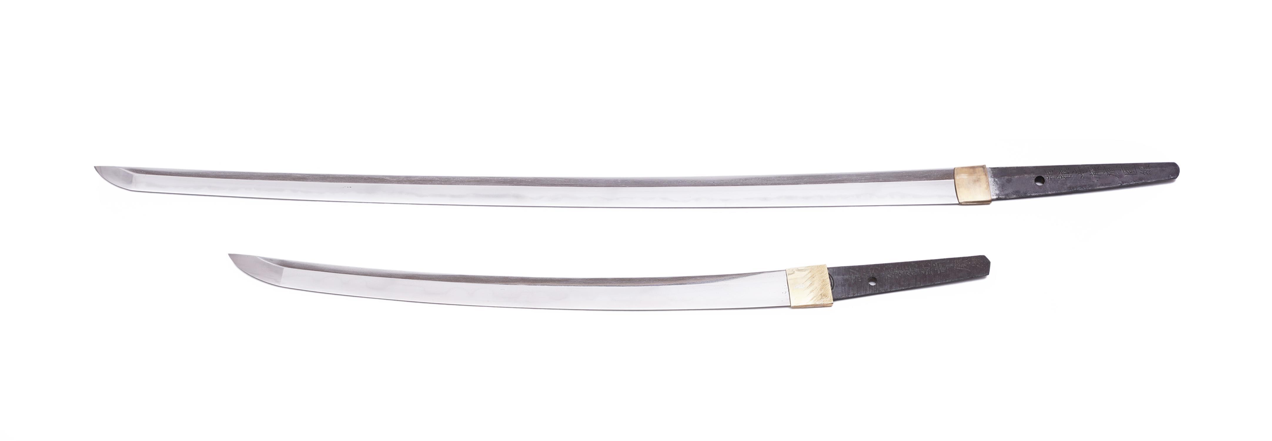 .A PAIR OF SAMURAI SWORDS, DAISHO Japan 1. Description of the katana: The katana is Shinto according - Image 4 of 24