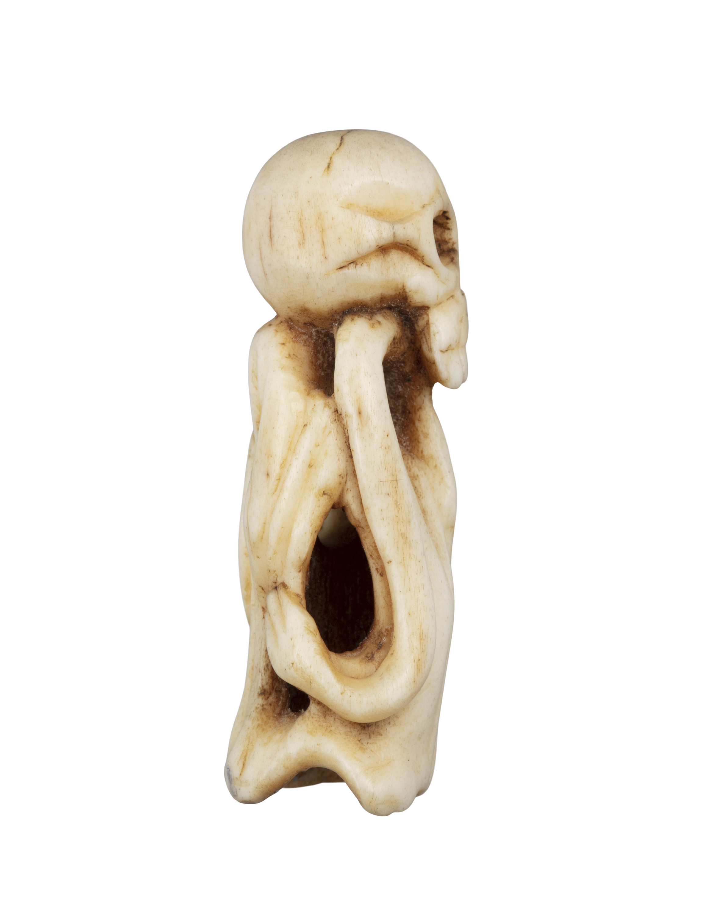 *VANITY - A GROUP OF TWO (2) 'SKULL' KATABORI NETSUKE Japan, 19th century The first one carved out - Image 4 of 18