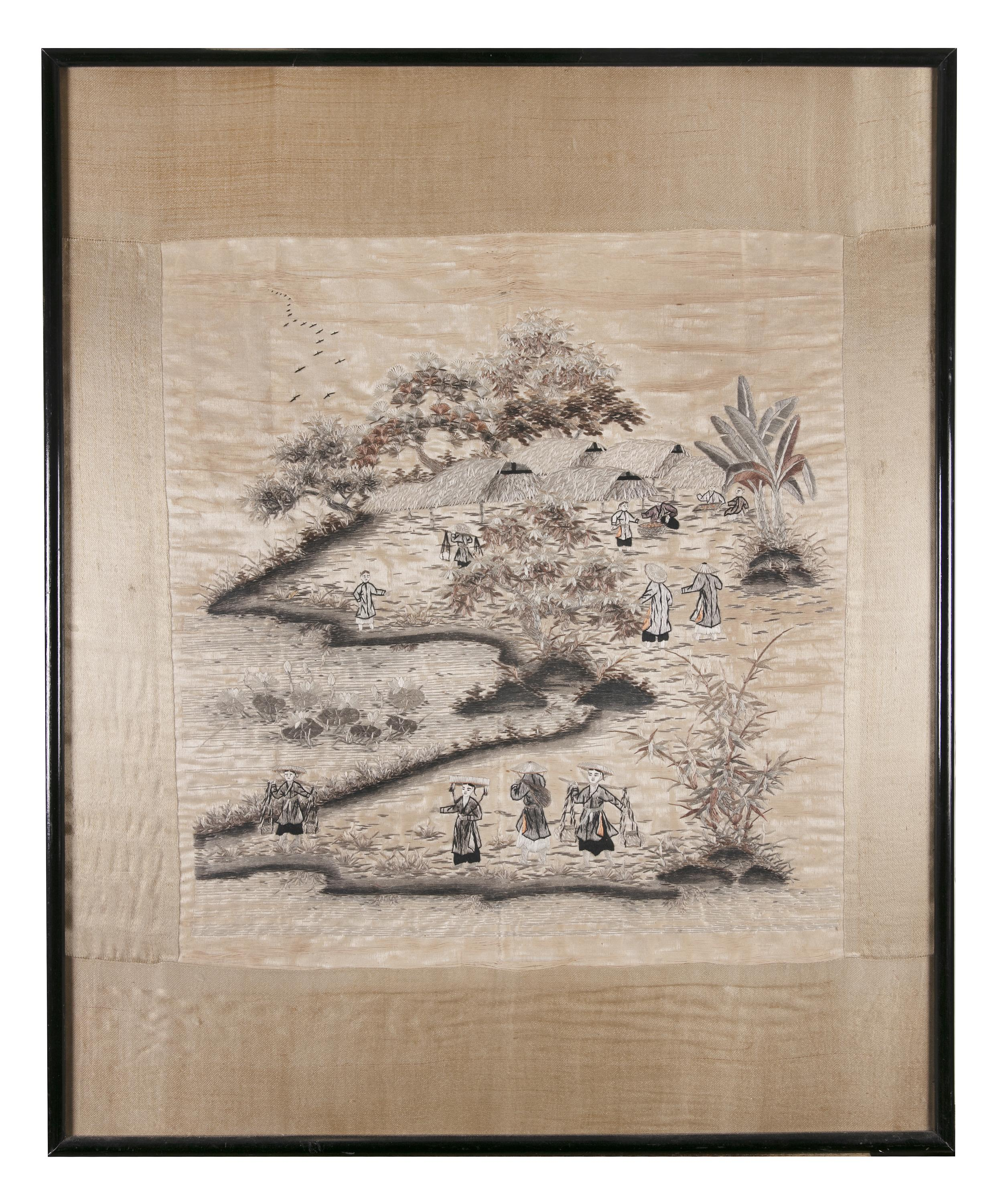 A 'PROCESSION' EMBROIDERED SILK PANEL Vietnam / Indochina, 20th century 48,5 x 46 cm TRANH LỤA - Image 2 of 6
