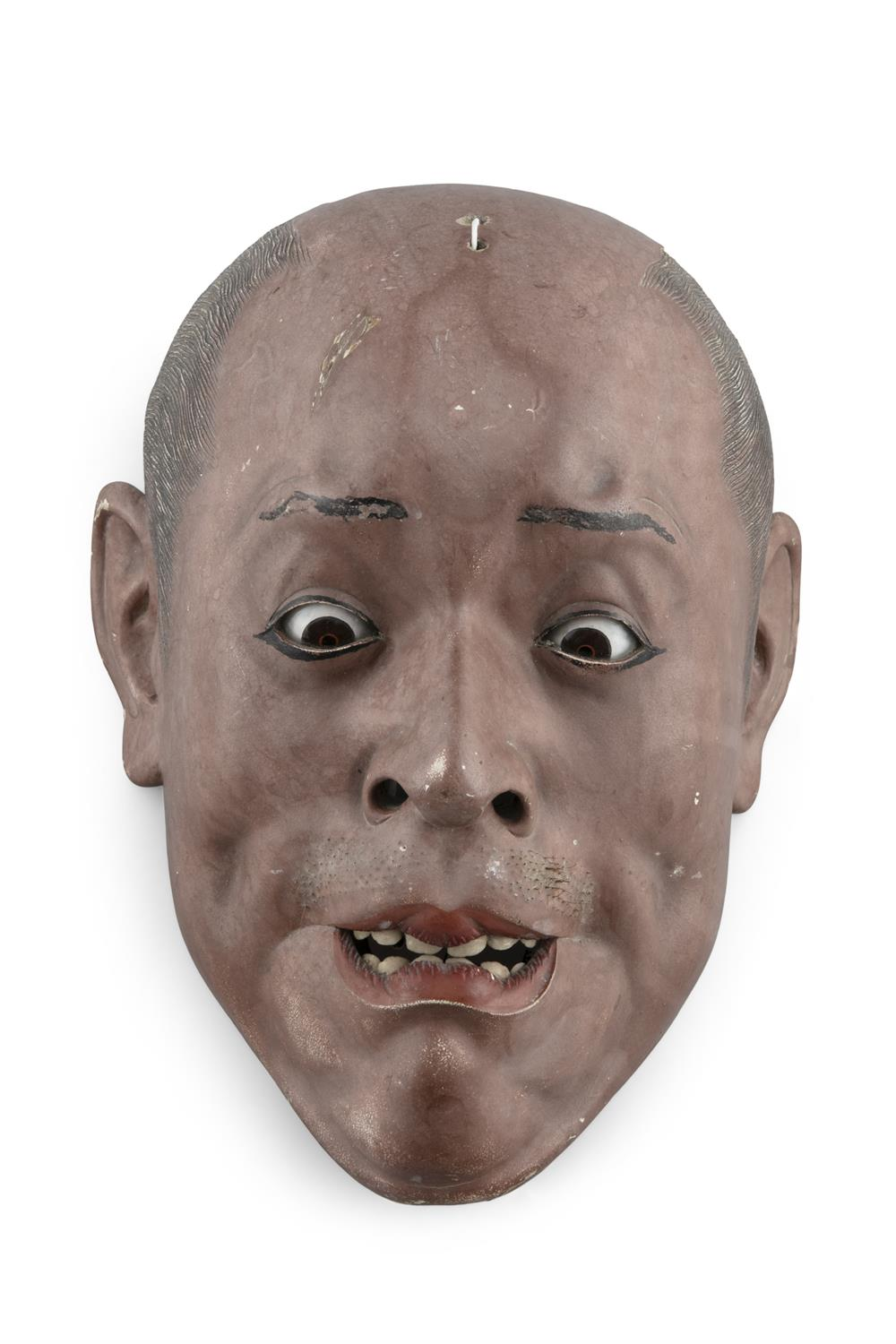 AN IKI NINGYO MASK OF A GRIMACING MAN Japan, 19th century Lacquered wooden mask with lively glass - Image 2 of 2
